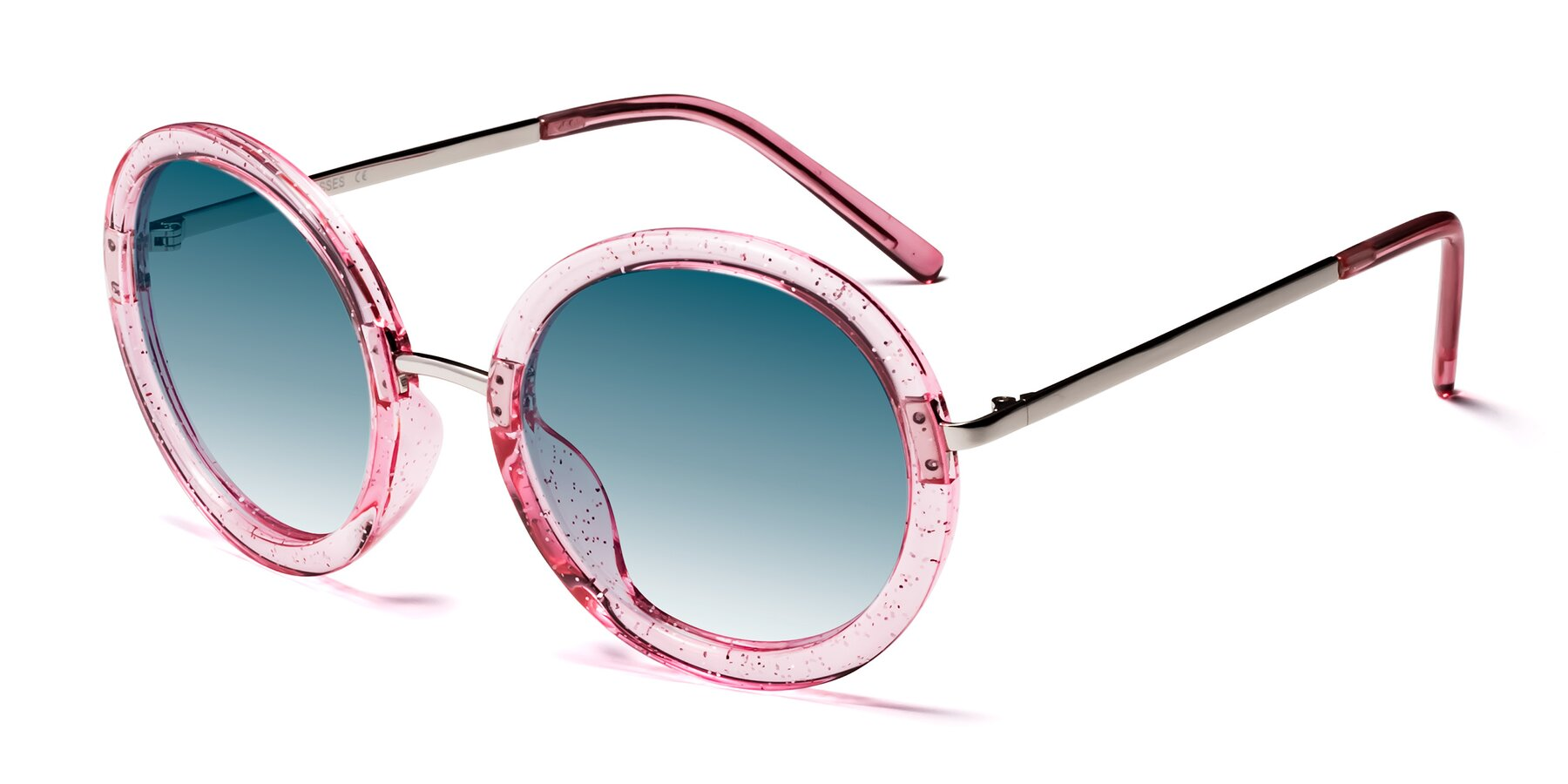 Angle of Bloom in Transparent Pearl Pink with Blue Gradient Lenses