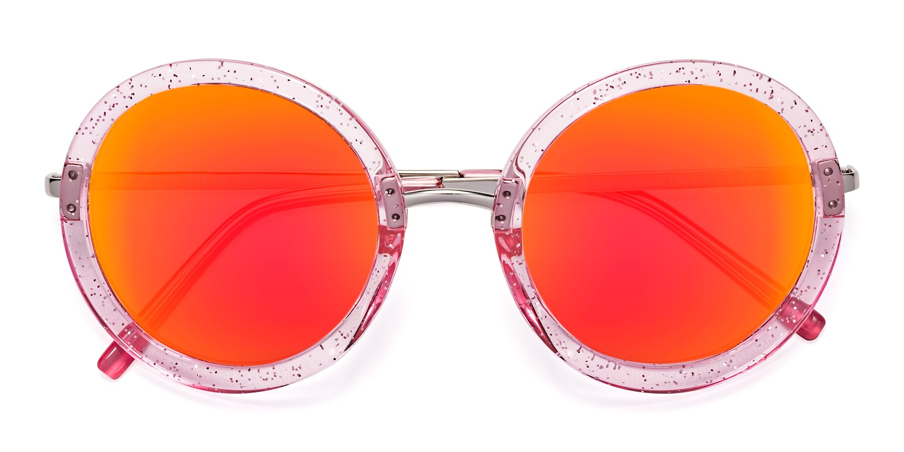 Folded Front of Bloom in Transparent Pearl Pink with Red Gold Mirrored Lenses