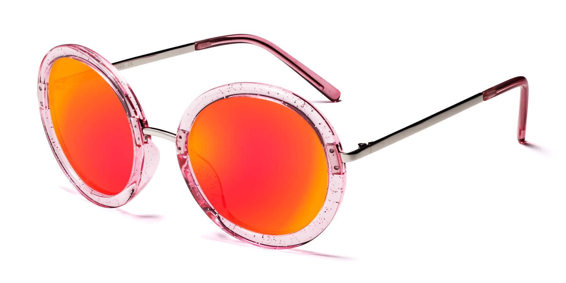 Angle of Bloom in Transparent Pearl Pink with Red Gold Mirrored Lenses