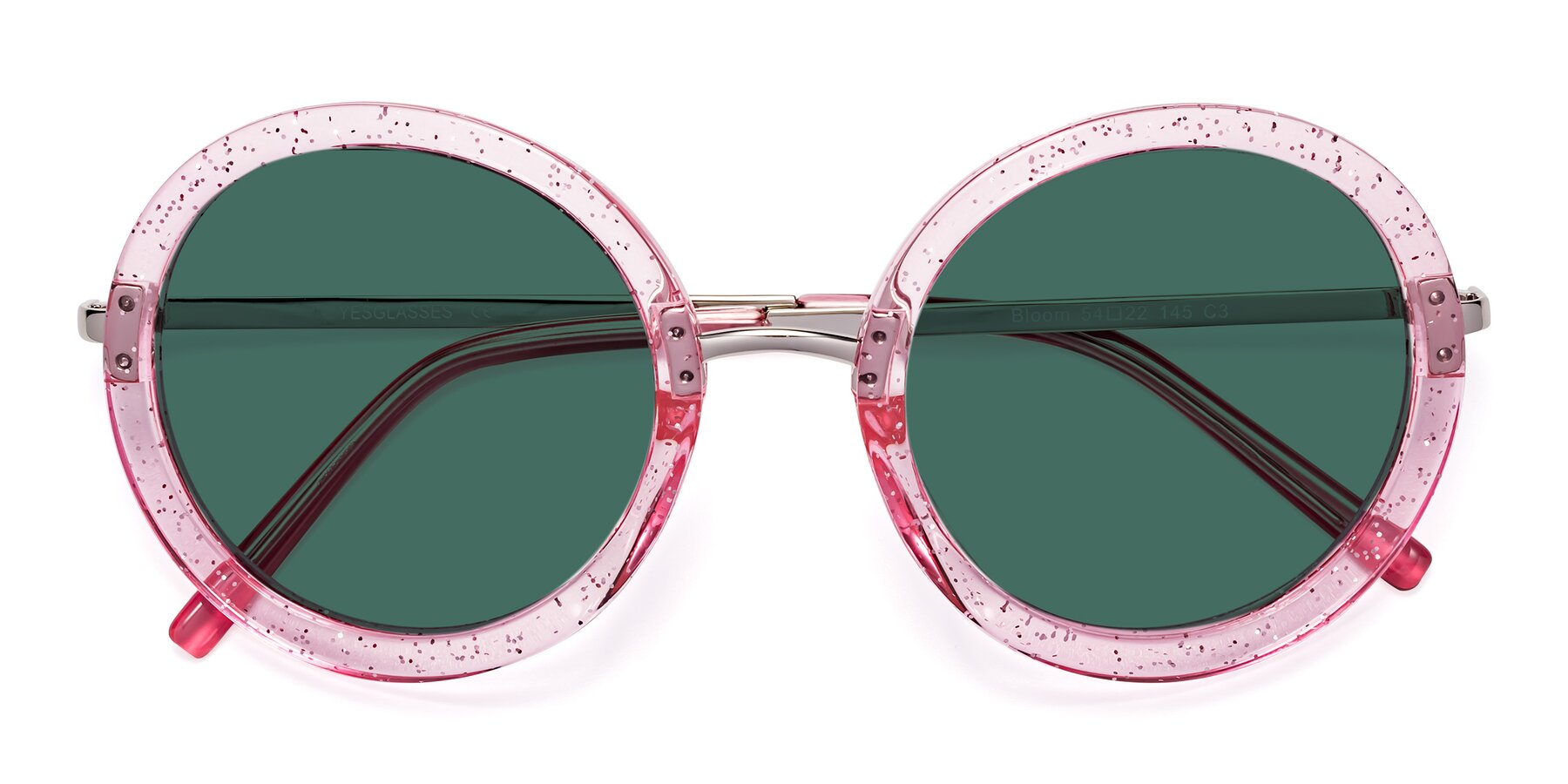 Folded Front of Bloom in Transparent Pearl Pink with Green Polarized Lenses