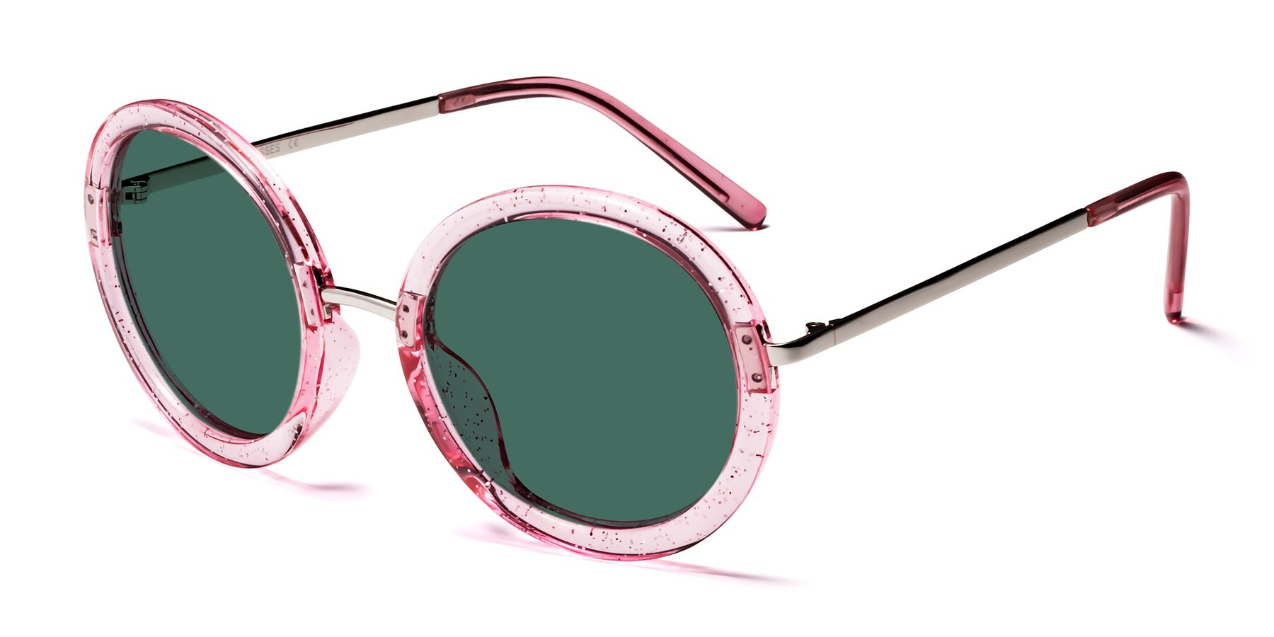 Angle of Bloom in Transparent Pearl Pink with Green Polarized Lenses