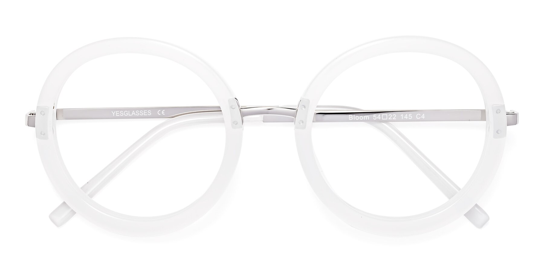 Folded Front of Bloom in Transparent Glacier Grey with Clear Blue Light Blocking Lenses