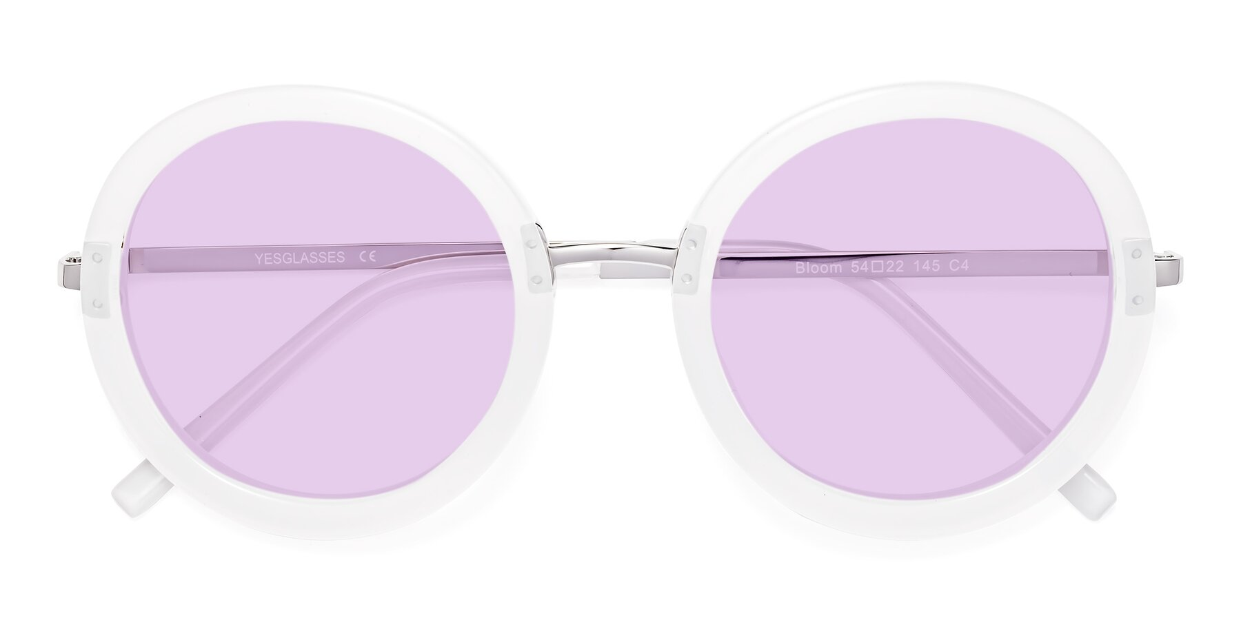 Folded Front of Bloom in Transparent Glacier Grey with Light Purple Tinted Lenses