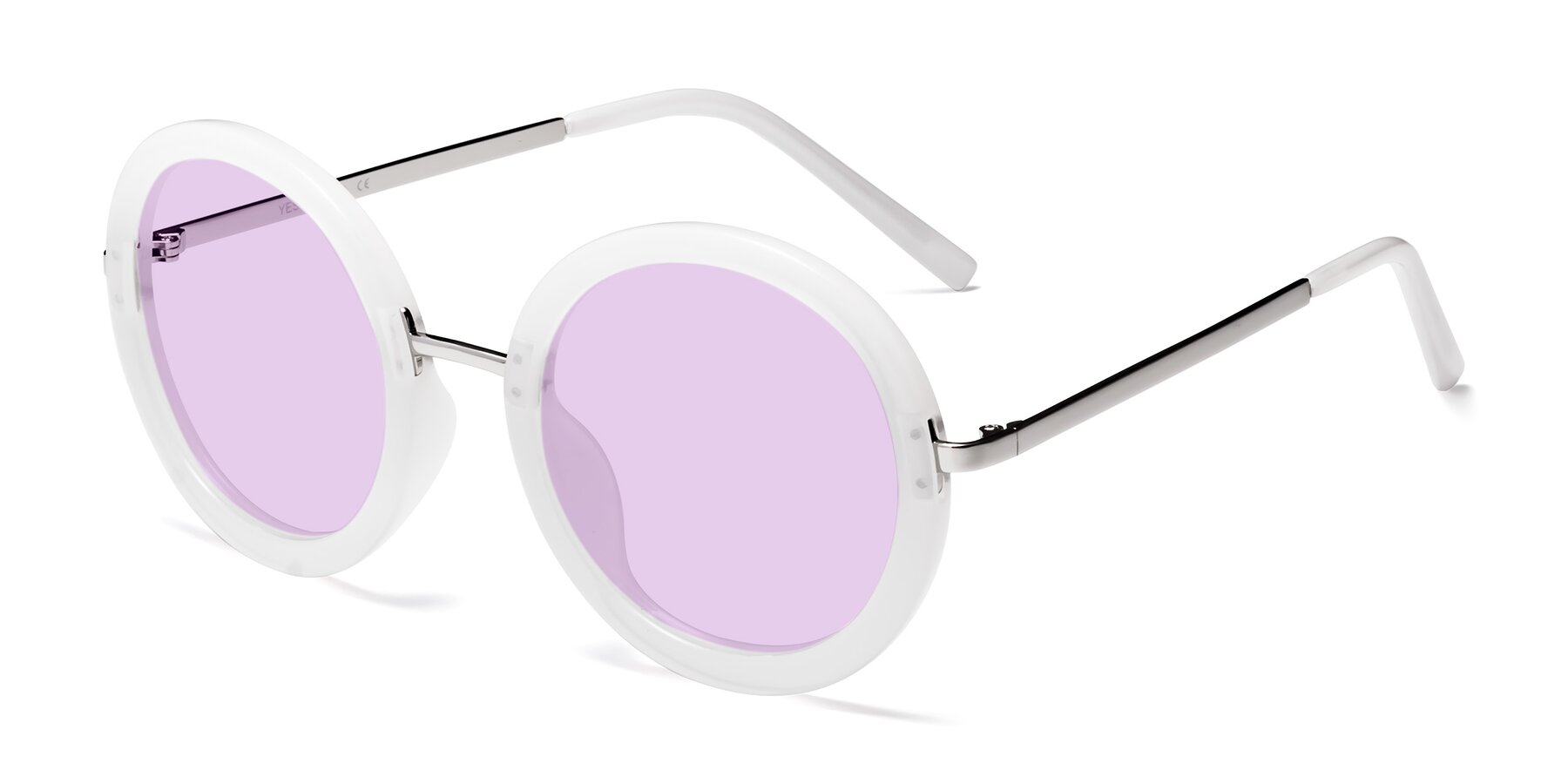 Angle of Bloom in Transparent Glacier Grey with Light Purple Tinted Lenses