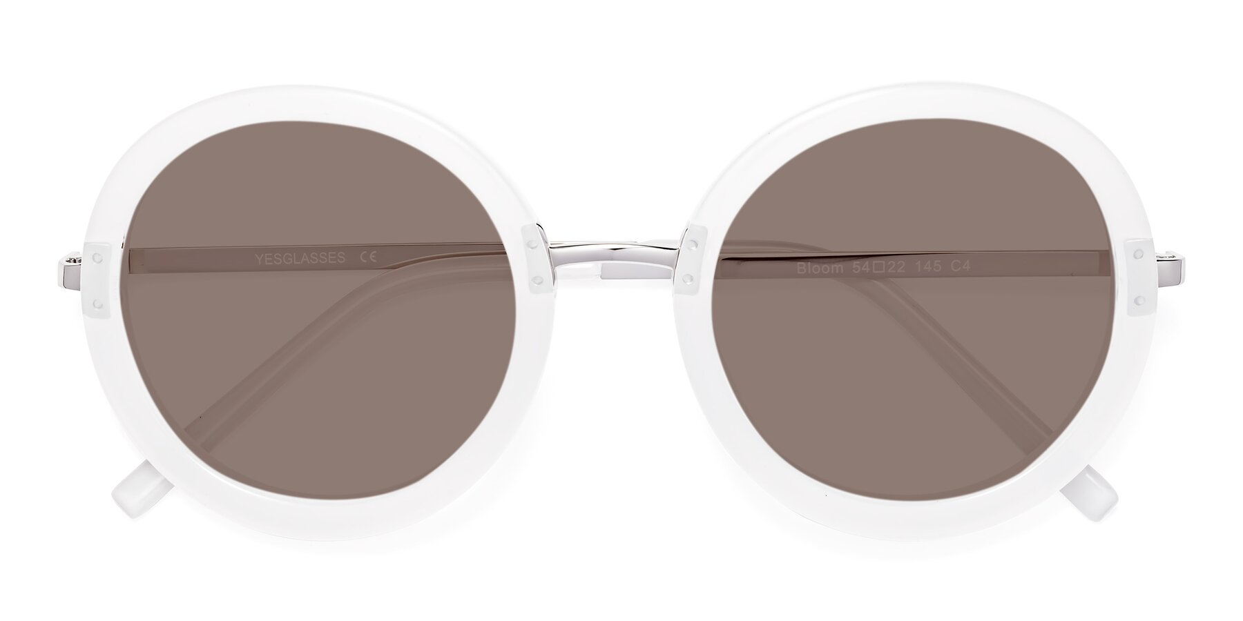 Folded Front of Bloom in Transparent Glacier Grey with Medium Brown Tinted Lenses