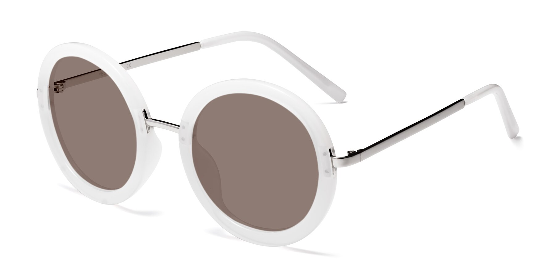 Angle of Bloom in Transparent Glacier Grey with Medium Brown Tinted Lenses