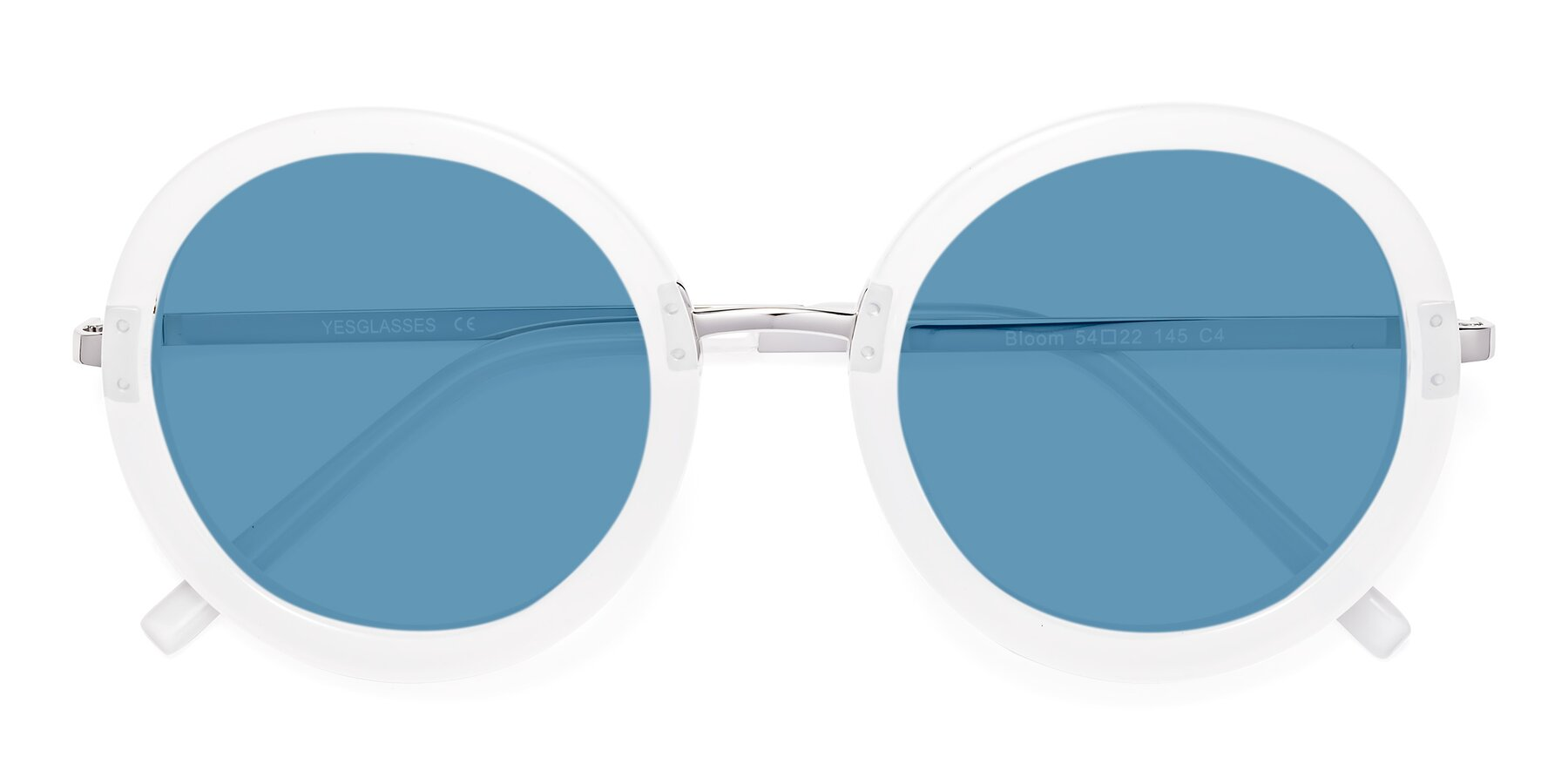 Folded Front of Bloom in Transparent Glacier Grey with Medium Blue Tinted Lenses