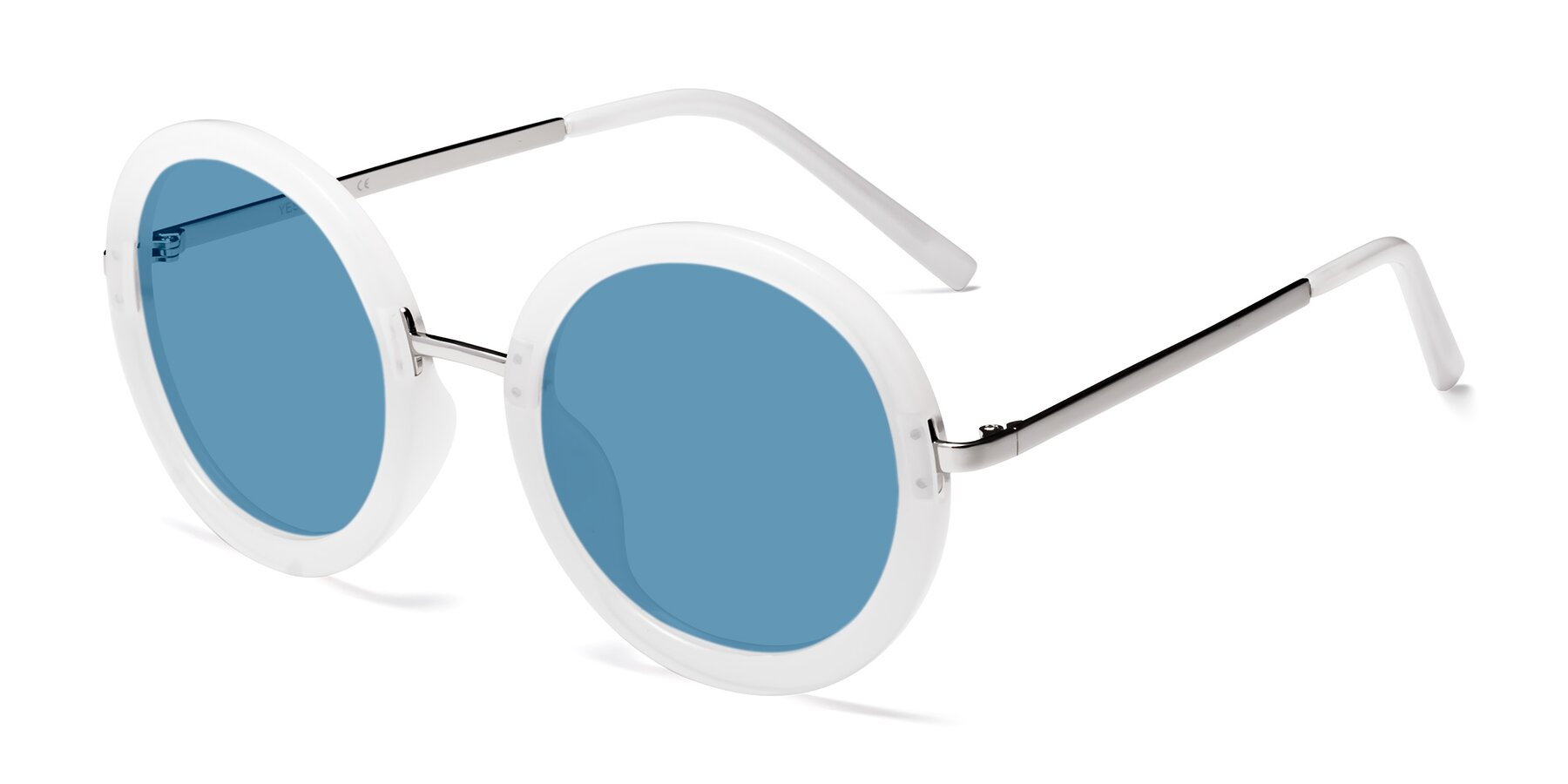 Angle of Bloom in Transparent Glacier Grey with Medium Blue Tinted Lenses