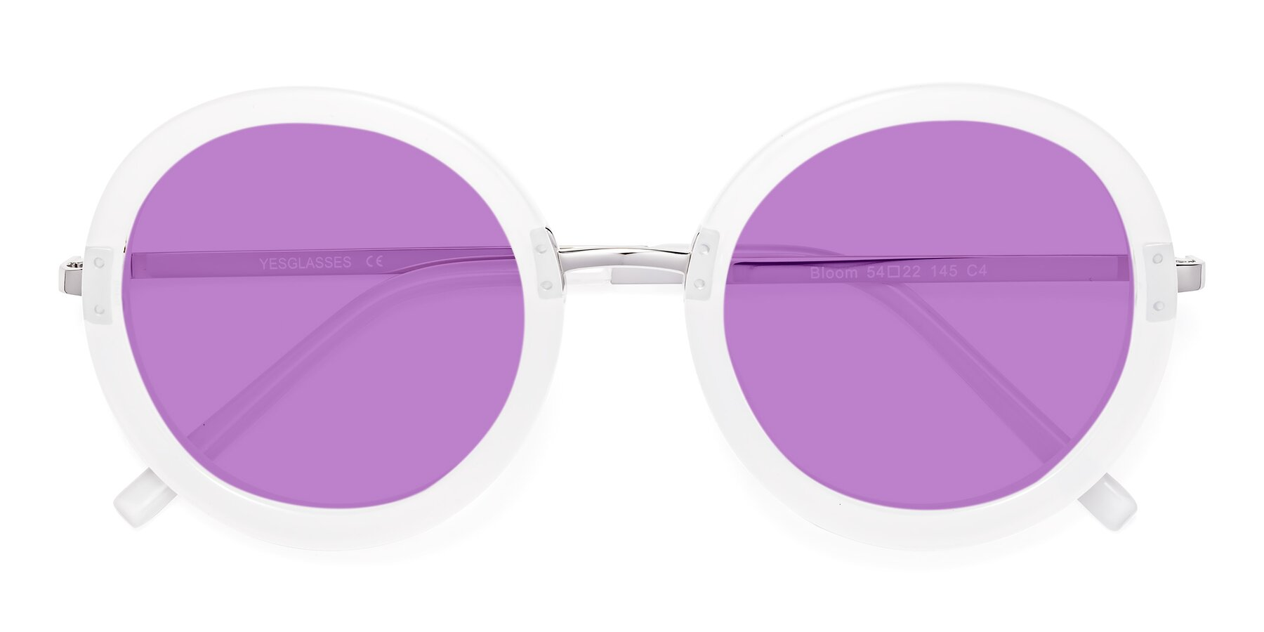 Folded Front of Bloom in Transparent Glacier Grey with Medium Purple Tinted Lenses