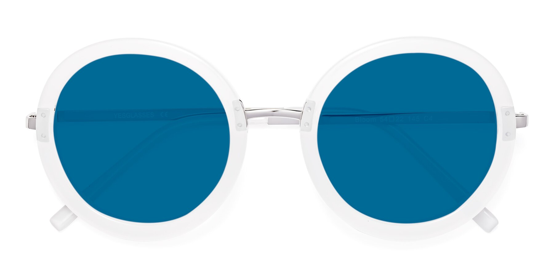 Folded Front of Bloom in Transparent Glacier Grey with Blue Tinted Lenses