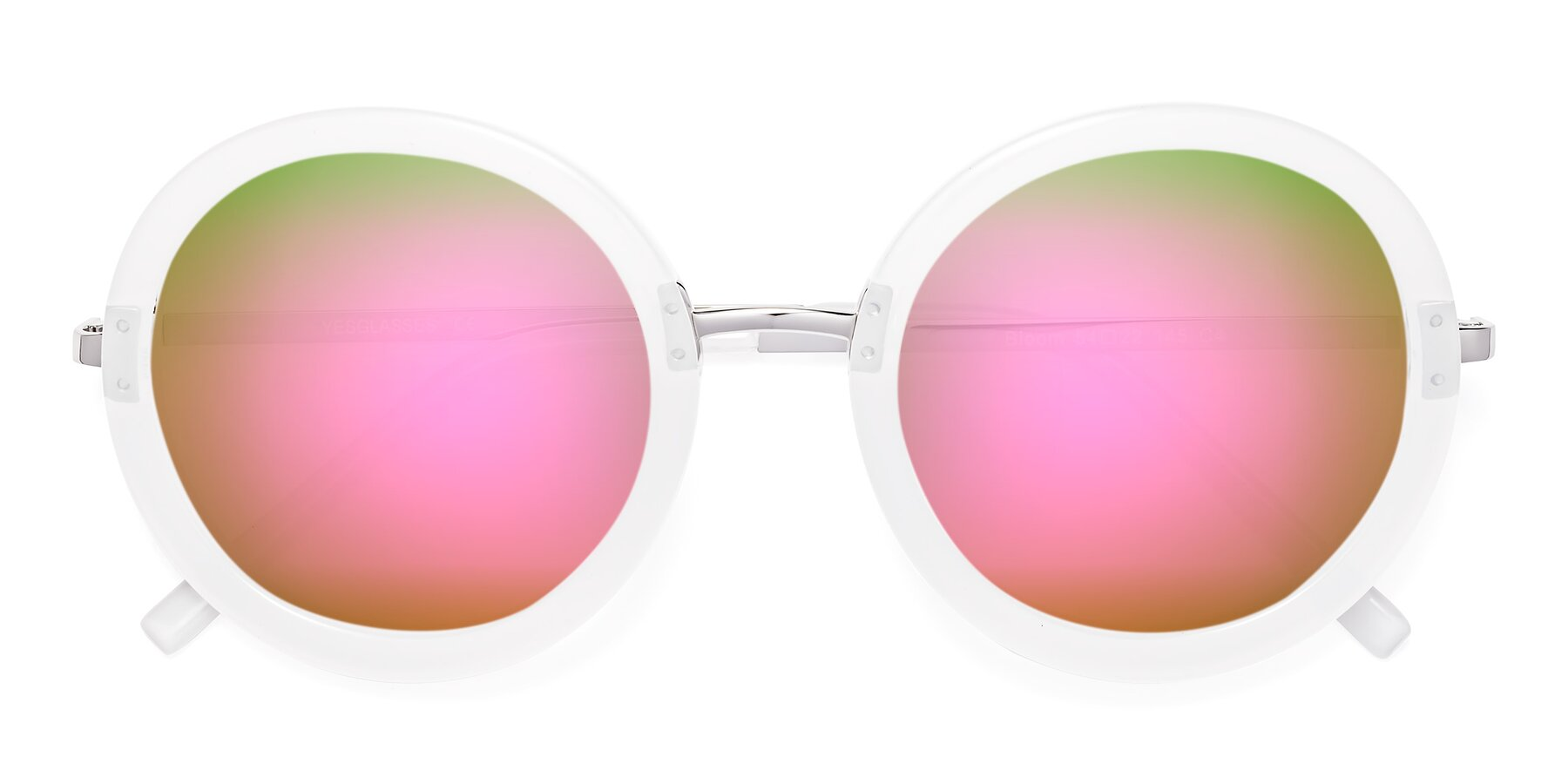 Folded Front of Bloom in Transparent Glacier Grey with Pink Mirrored Lenses