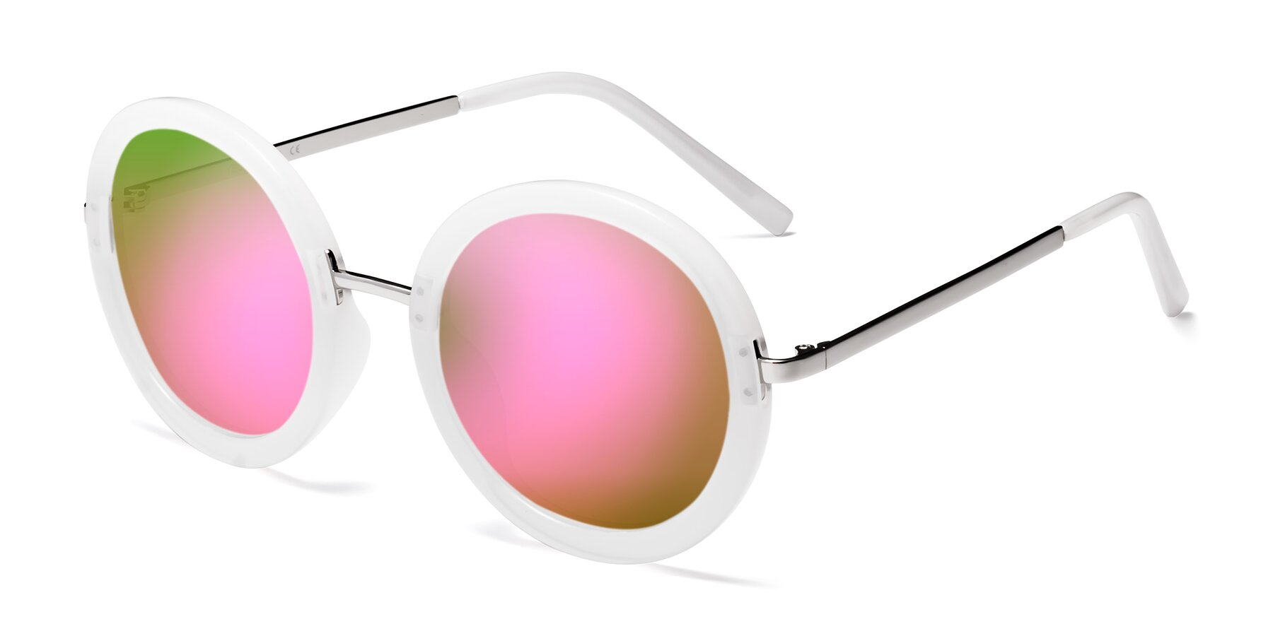 Angle of Bloom in Transparent Glacier Grey with Pink Mirrored Lenses