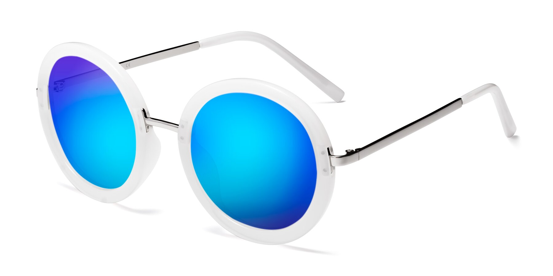 Angle of Bloom in Transparent Glacier Grey with Blue Mirrored Lenses