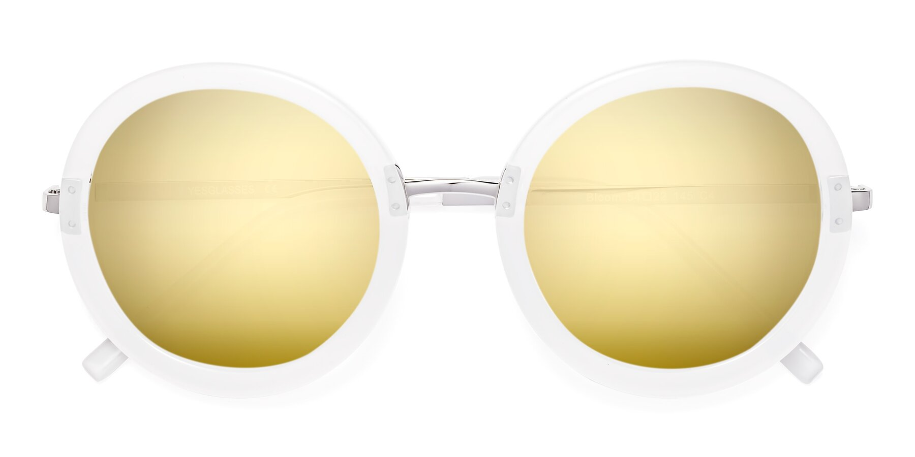 Folded Front of Bloom in Transparent Glacier Grey with Gold Mirrored Lenses