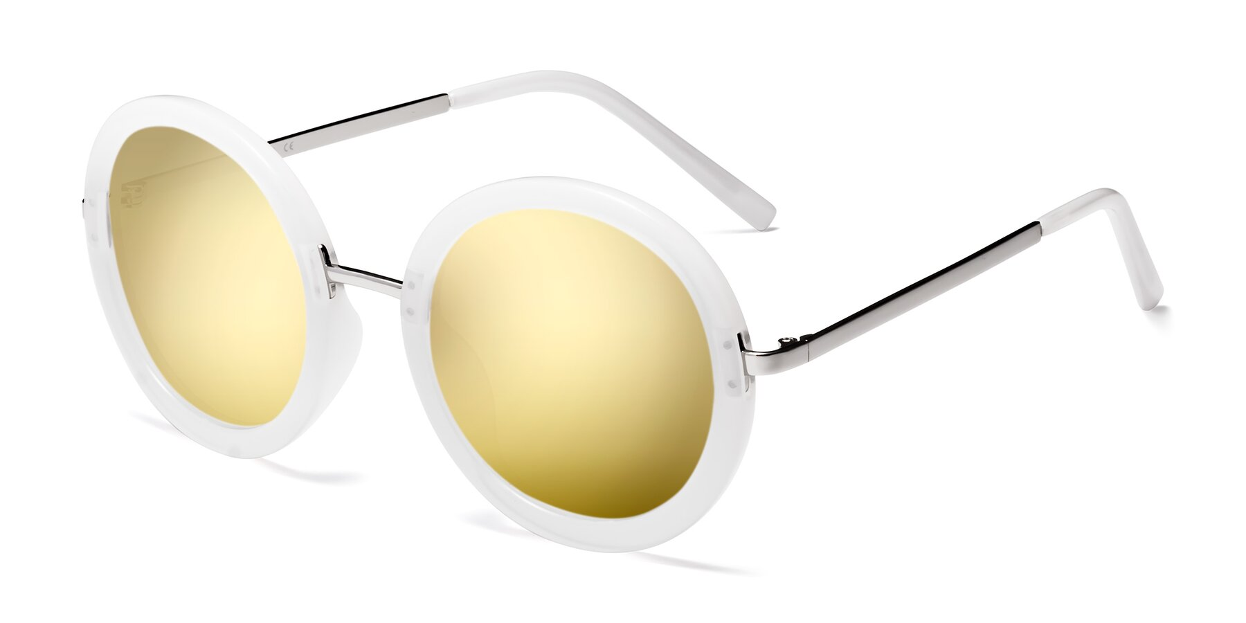 Angle of Bloom in Transparent Glacier Grey with Gold Mirrored Lenses