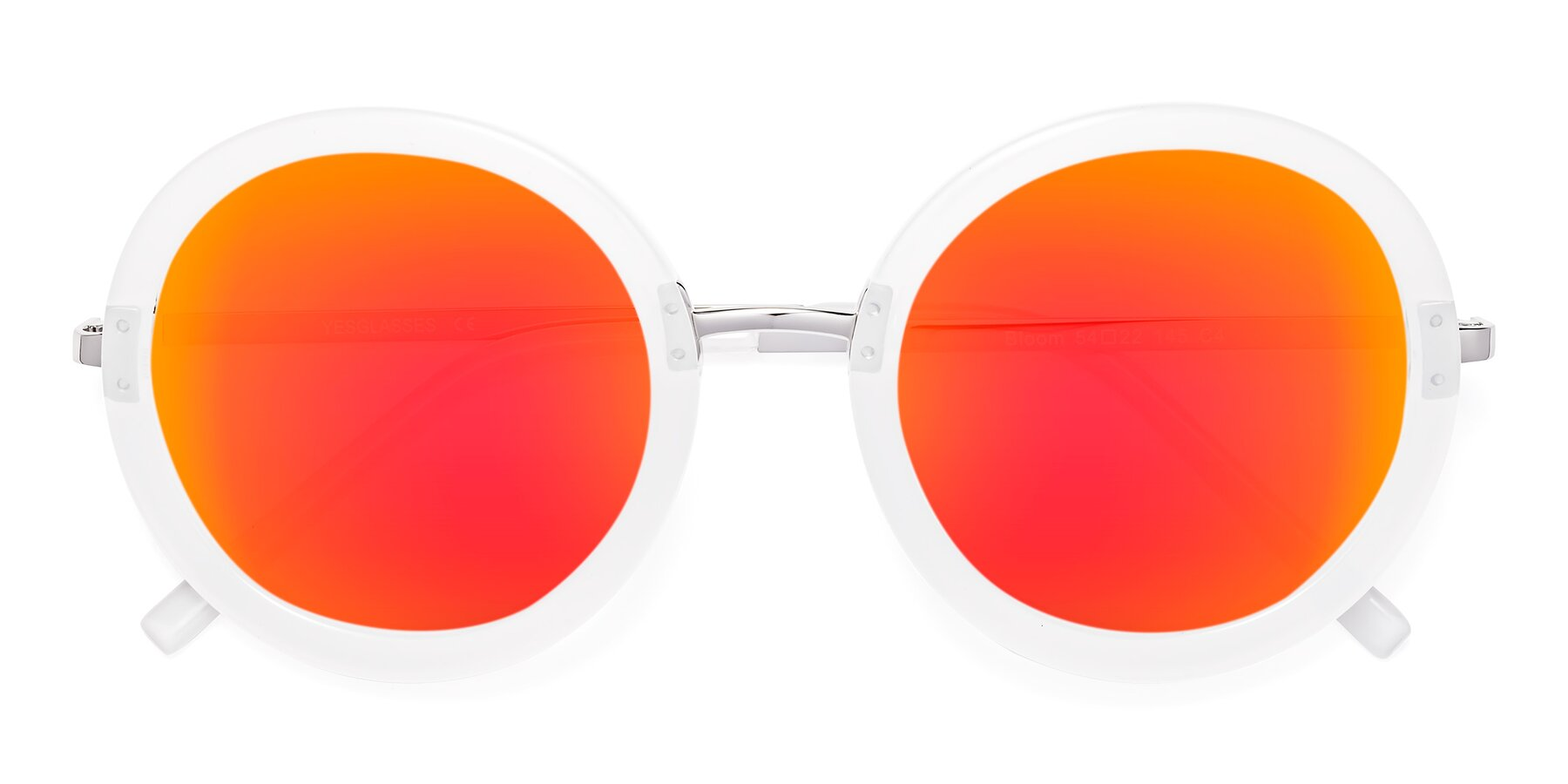 Folded Front of Bloom in Transparent Glacier Grey with Red Gold Mirrored Lenses