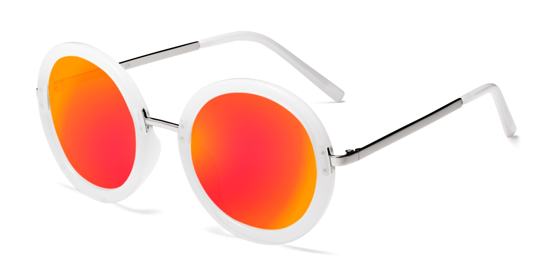 Angle of Bloom in Transparent Glacier Grey with Red Gold Mirrored Lenses
