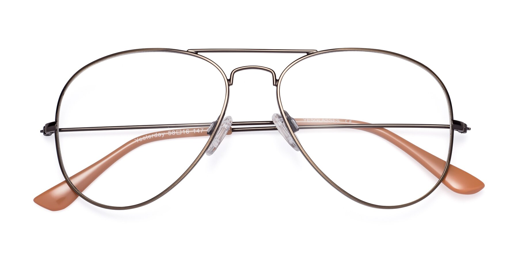 Folded Front of Yesterday in Antique Bronze with Clear Blue Light Blocking Lenses