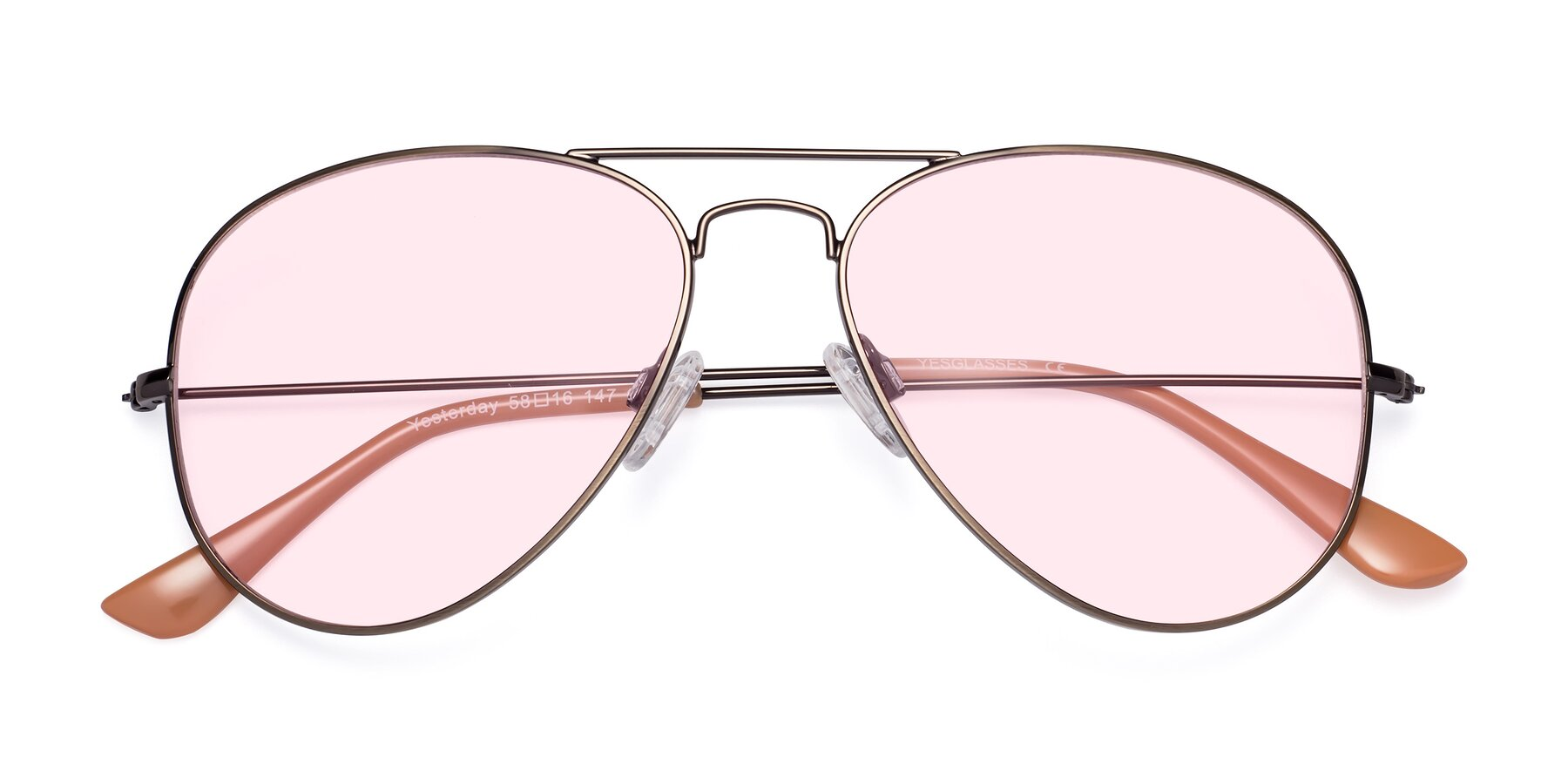 Folded Front of Yesterday in Antique Bronze with Light Pink Tinted Lenses