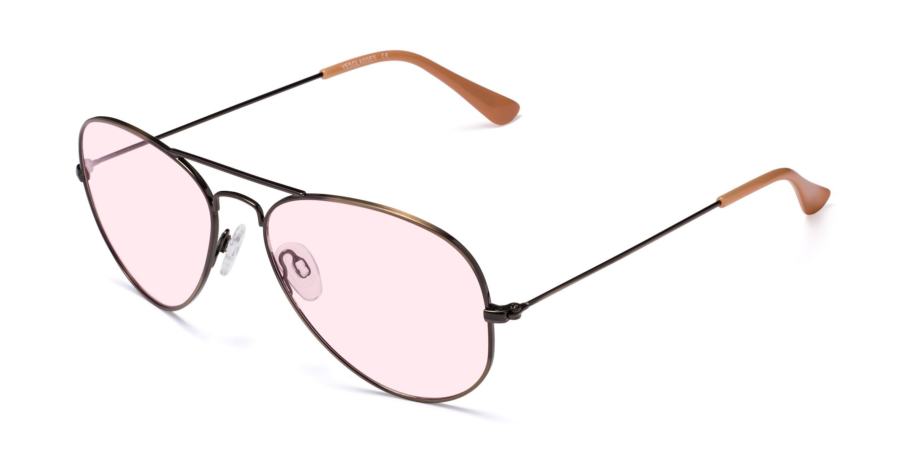 Angle of Yesterday in Antique Bronze with Light Pink Tinted Lenses