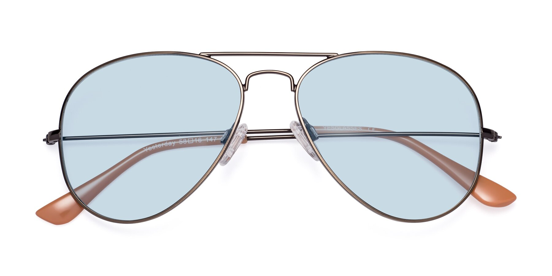 Folded Front of Yesterday in Antique Bronze with Light Blue Tinted Lenses