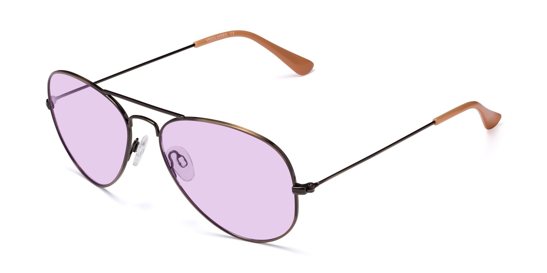 Angle of Yesterday in Antique Bronze with Light Purple Tinted Lenses