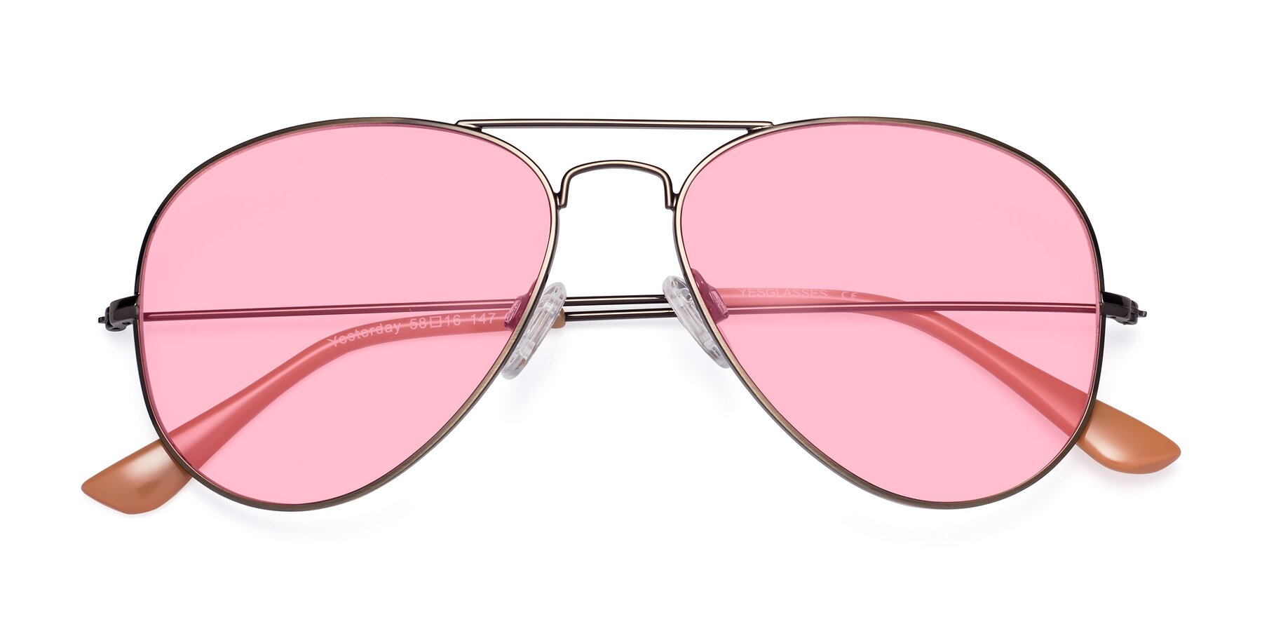 Folded Front of Yesterday in Antique Bronze with Medium Pink Tinted Lenses