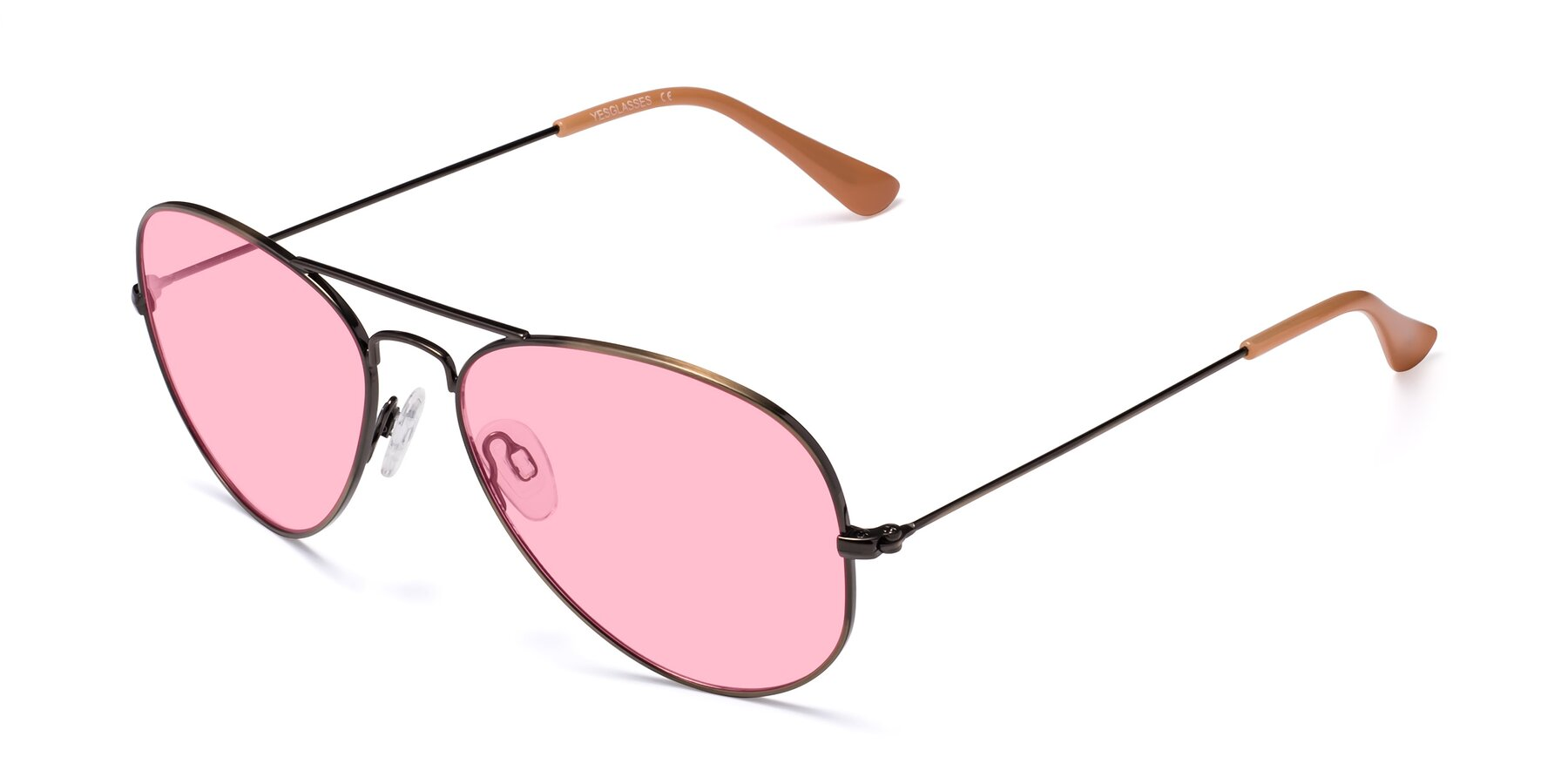 Angle of Yesterday in Antique Bronze with Medium Pink Tinted Lenses