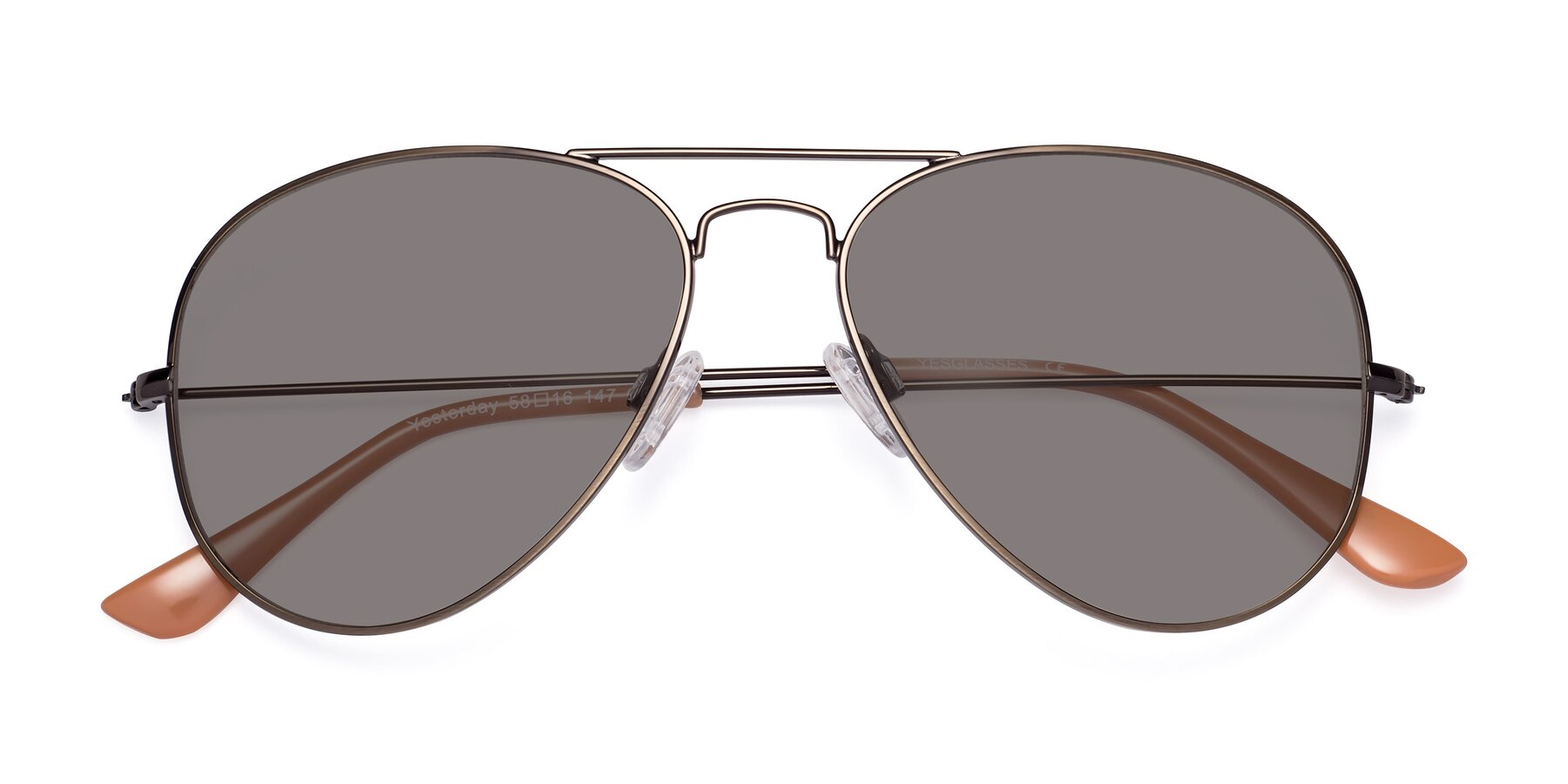 Folded Front of Yesterday in Antique Bronze with Medium Gray Tinted Lenses