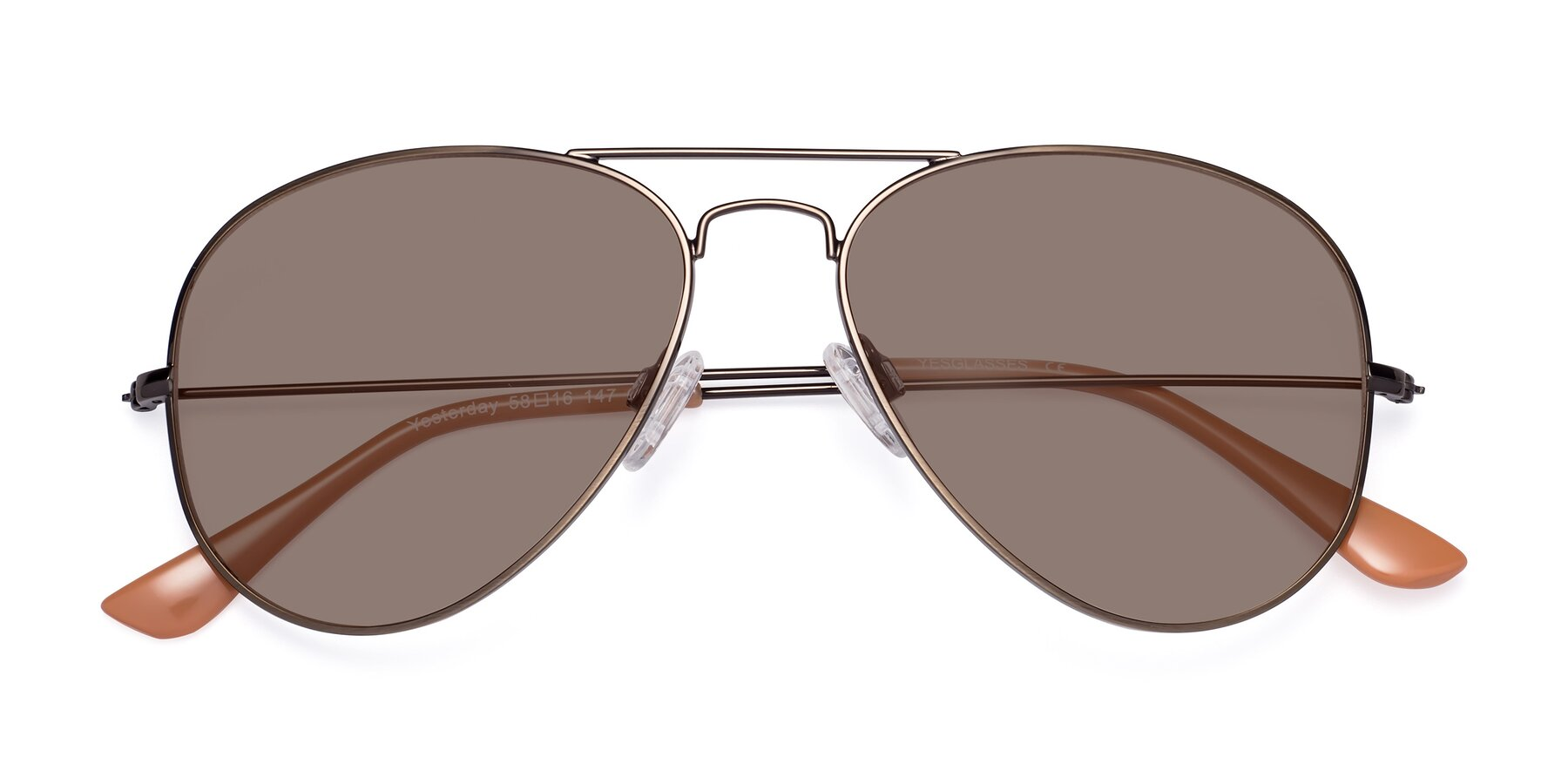 Folded Front of Yesterday in Antique Bronze with Medium Brown Tinted Lenses