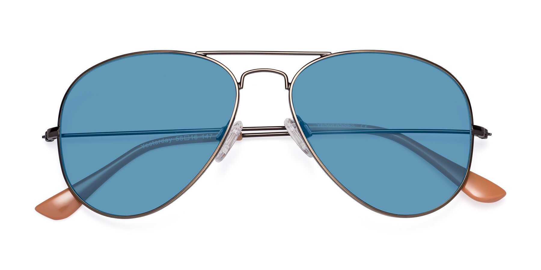 Folded Front of Yesterday in Antique Bronze with Medium Blue Tinted Lenses