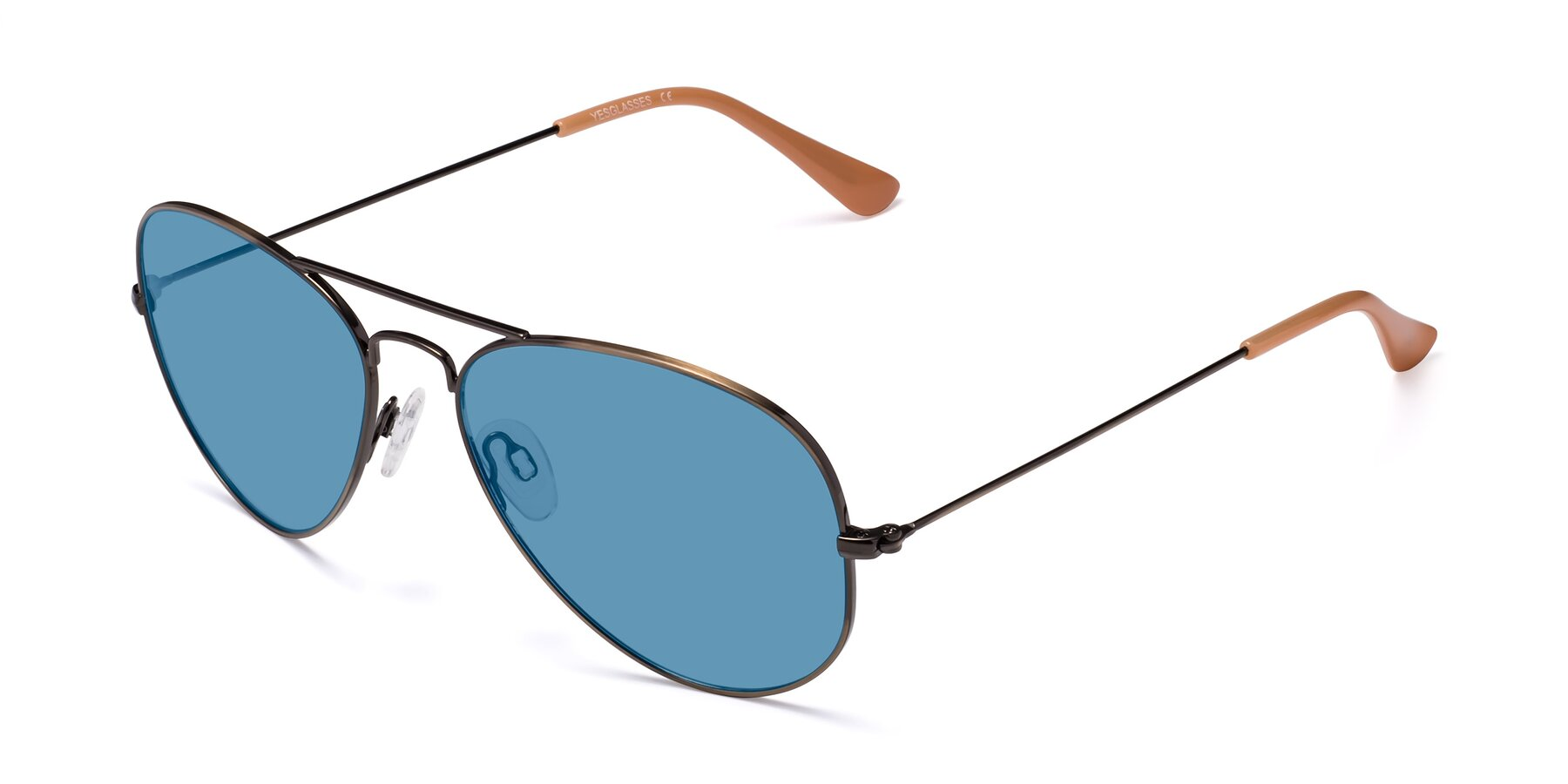 Angle of Yesterday in Antique Bronze with Medium Blue Tinted Lenses