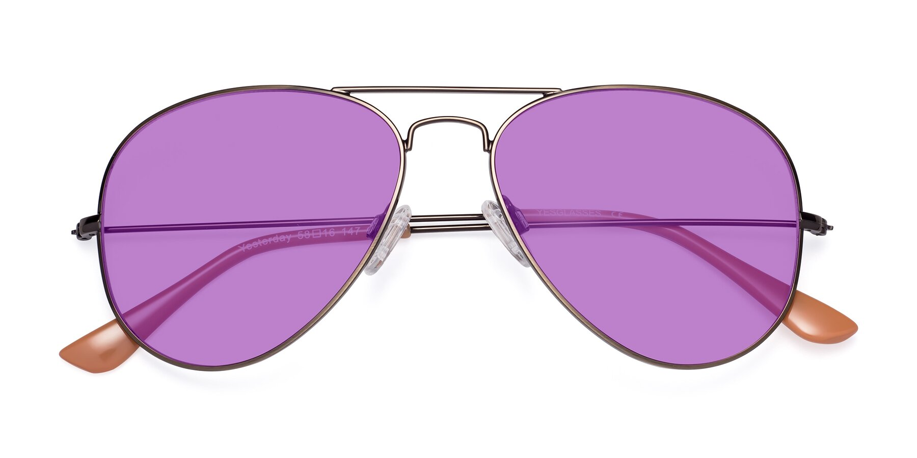 Folded Front of Yesterday in Antique Bronze with Medium Purple Tinted Lenses