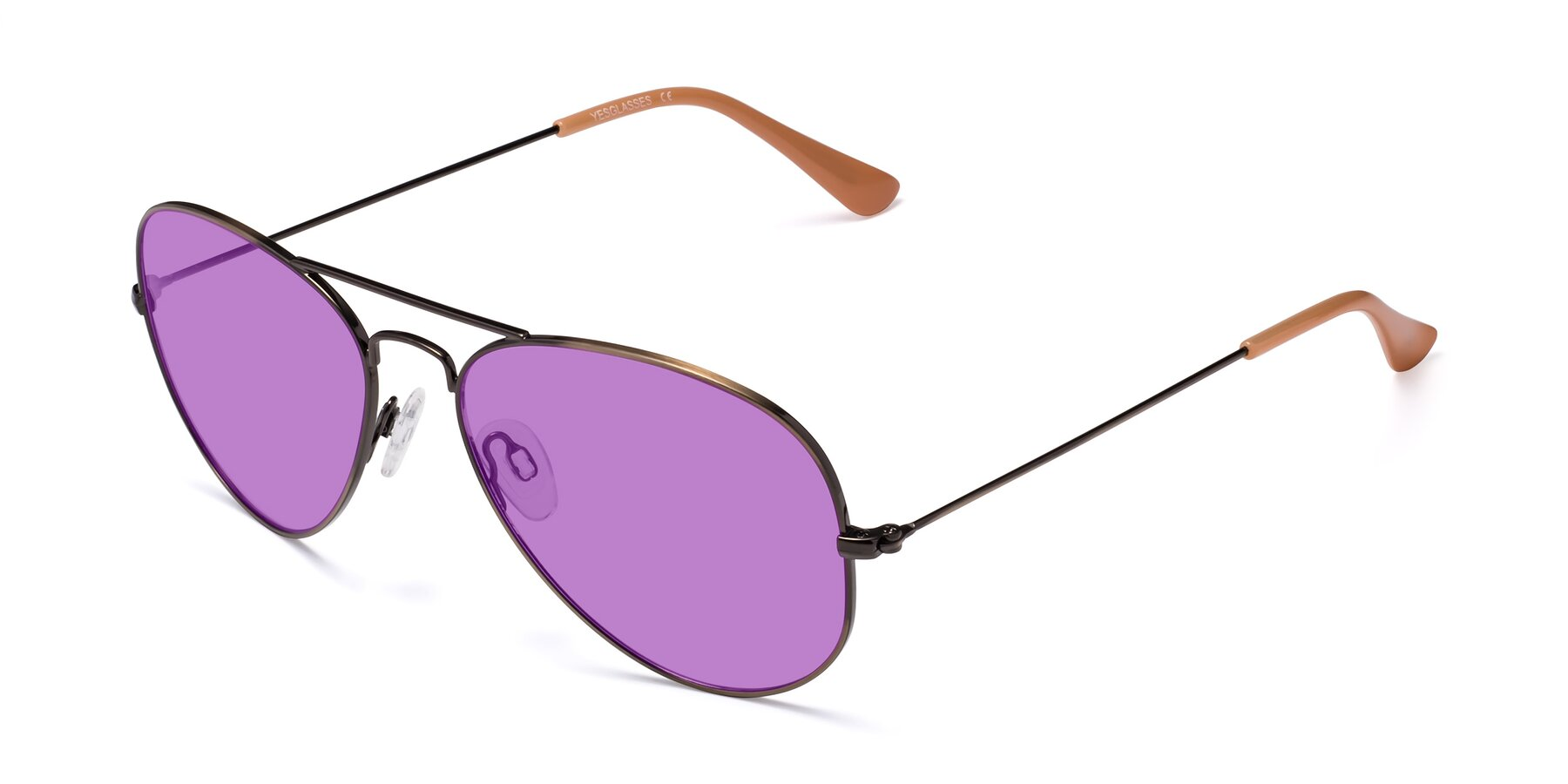 Angle of Yesterday in Antique Bronze with Medium Purple Tinted Lenses