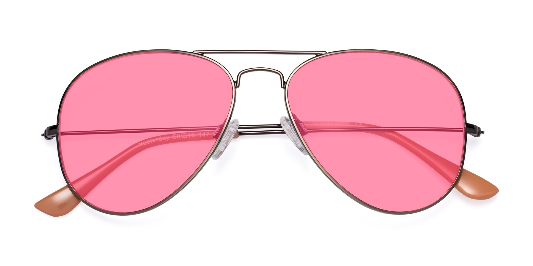 Folded Front of Yesterday in Antique Bronze with Pink Tinted Lenses
