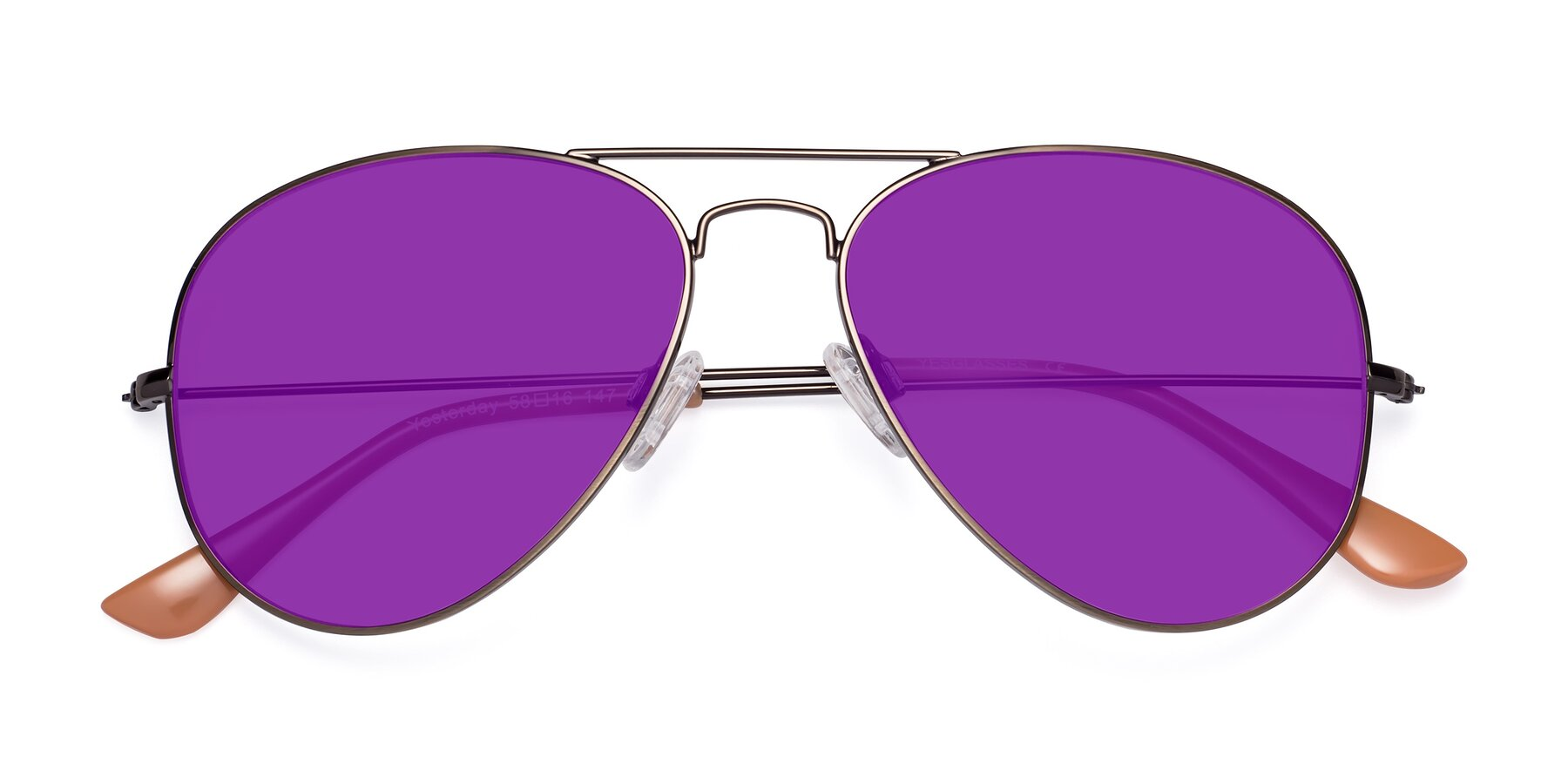 Folded Front of Yesterday in Antique Bronze with Purple Tinted Lenses