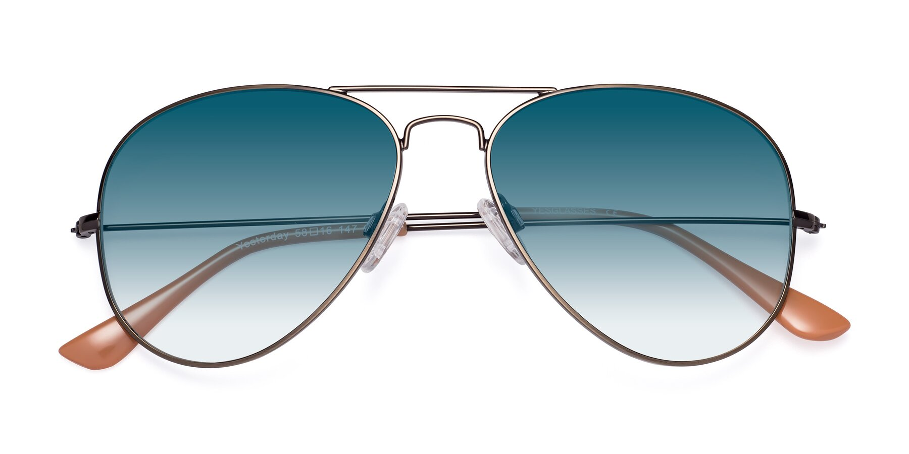 Folded Front of Yesterday in Antique Bronze with Blue Gradient Lenses