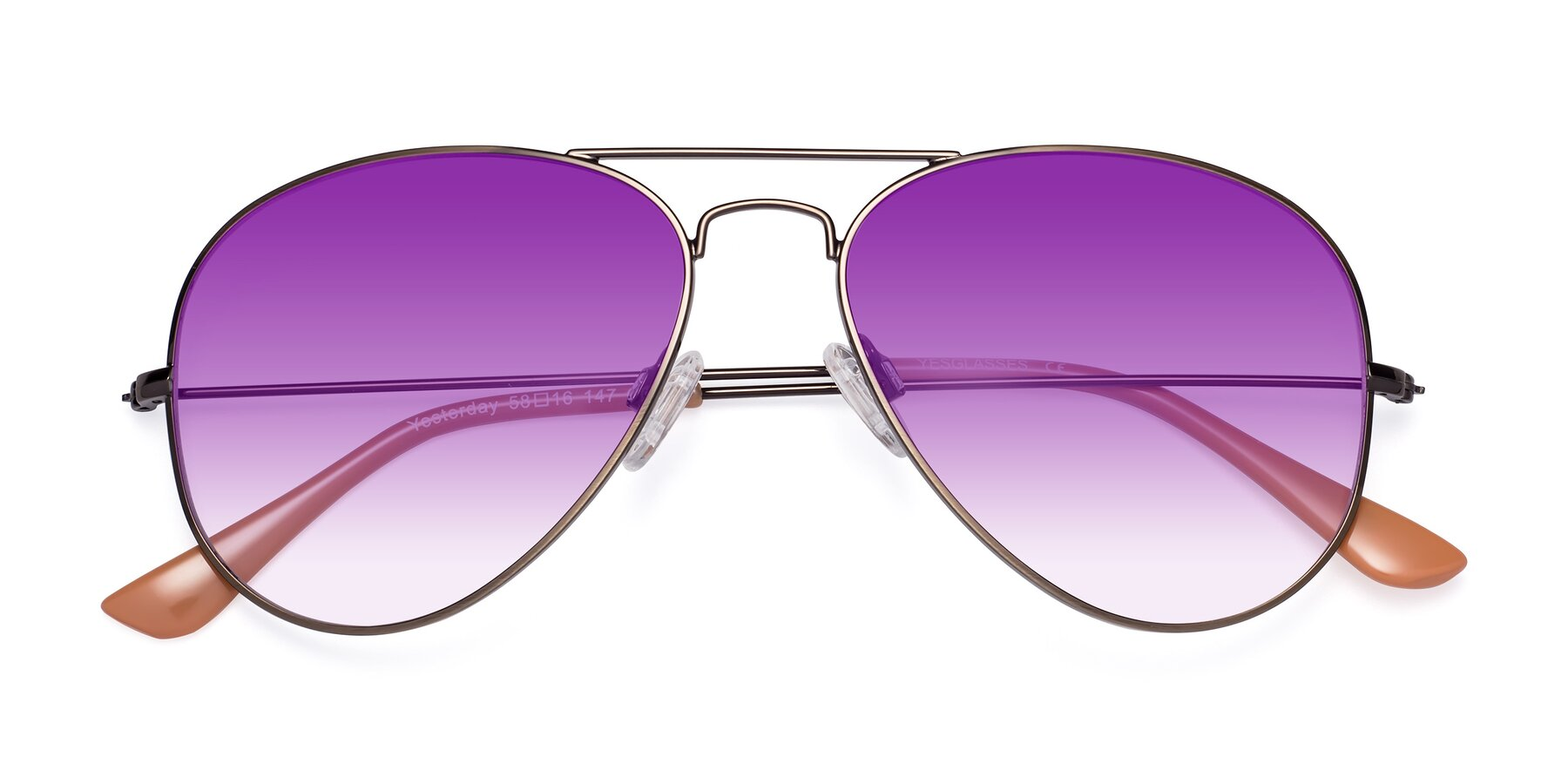 Folded Front of Yesterday in Antique Bronze with Purple Gradient Lenses