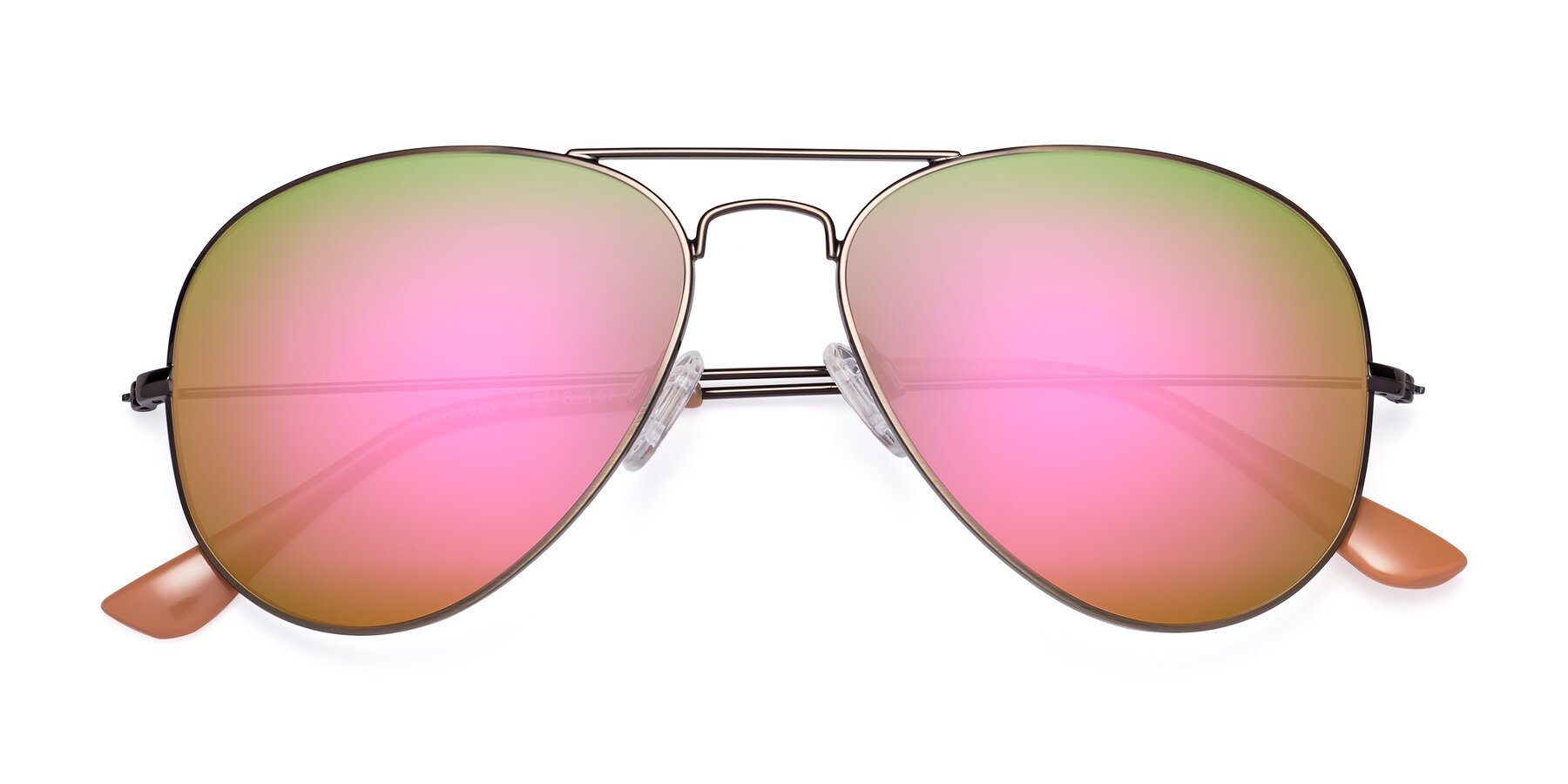 Folded Front of Yesterday in Antique Bronze with Pink Mirrored Lenses