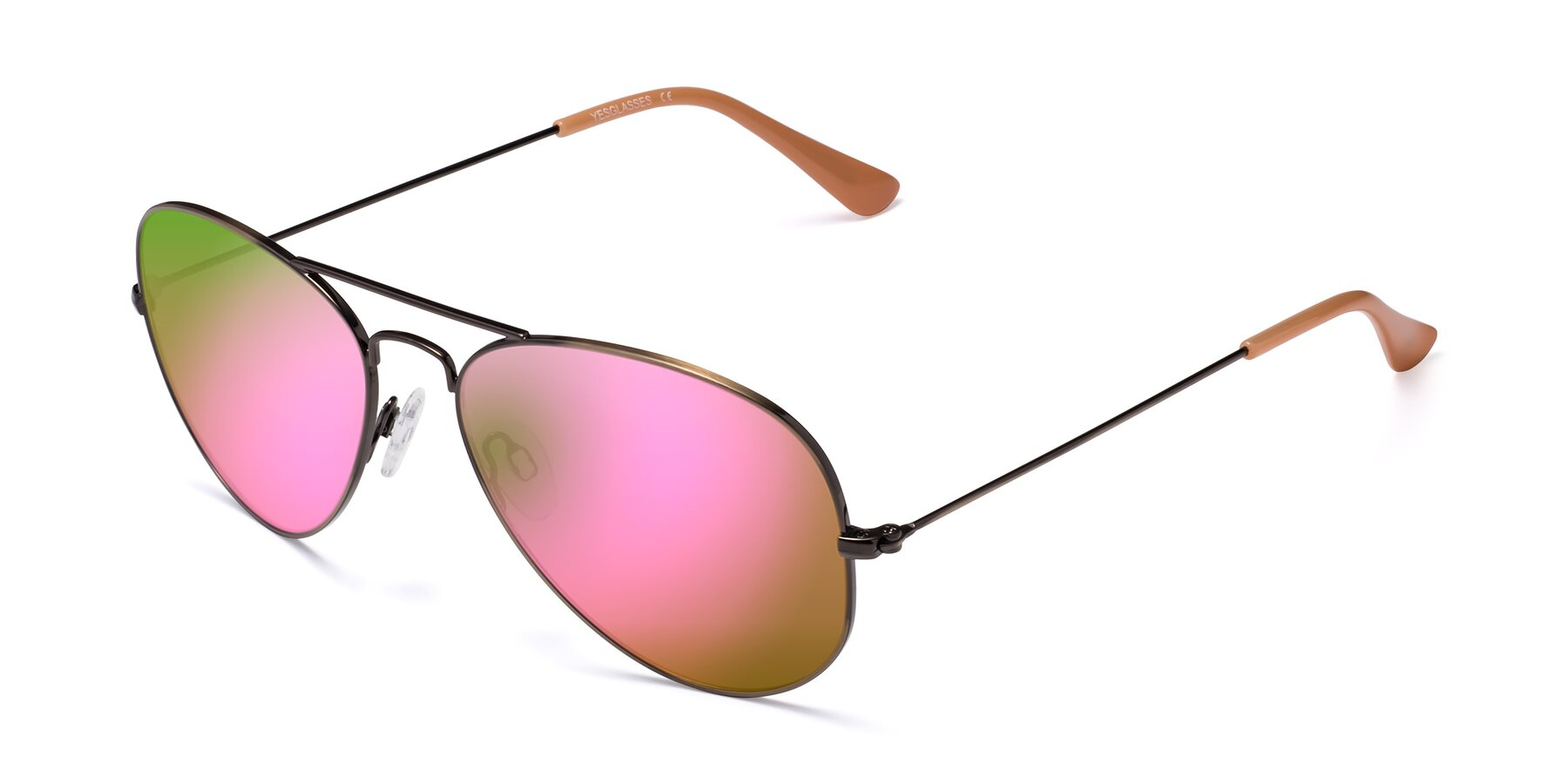 Angle of Yesterday in Antique Bronze with Pink Mirrored Lenses