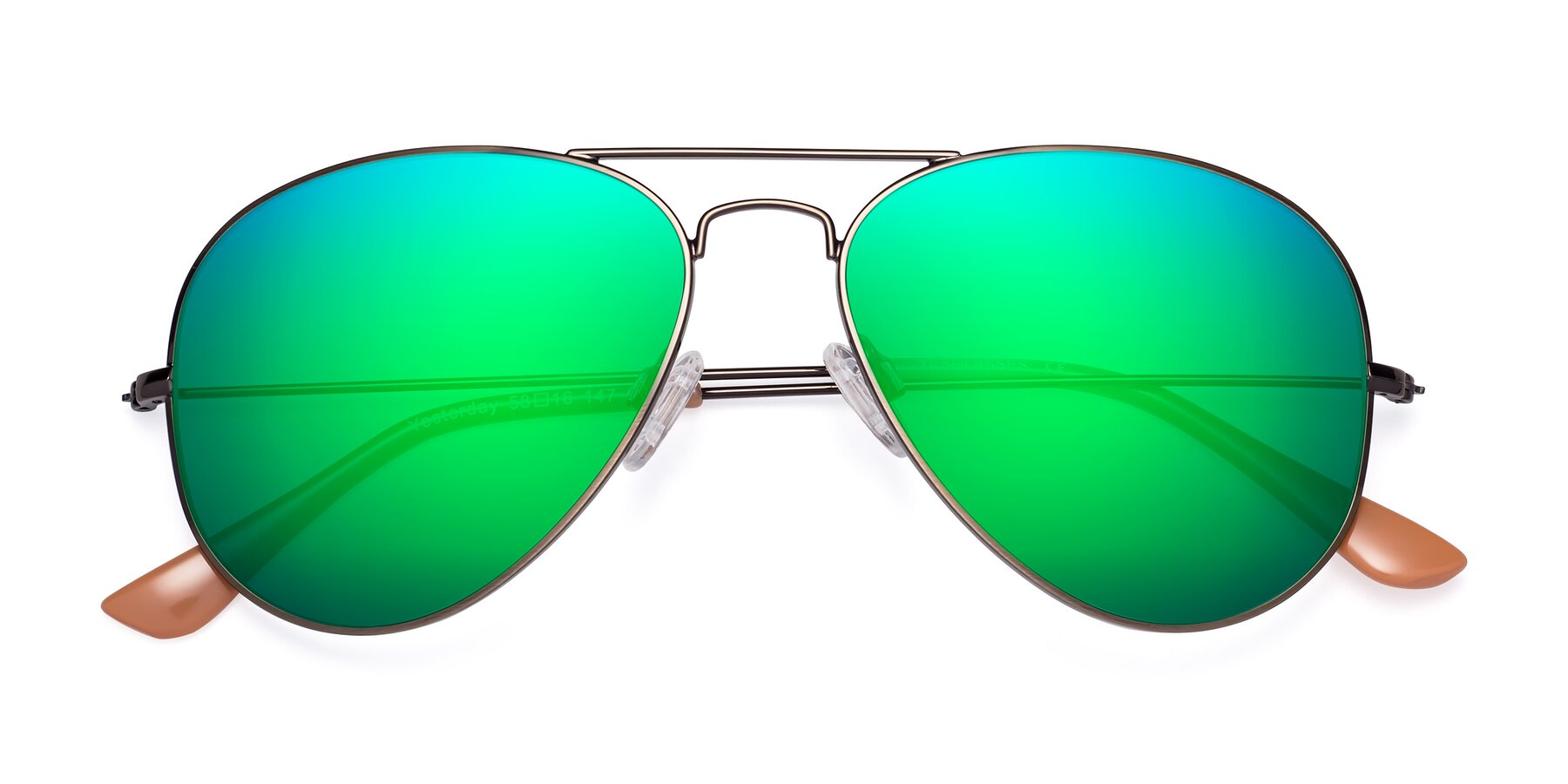Folded Front of Yesterday in Antique Bronze with Green Mirrored Lenses