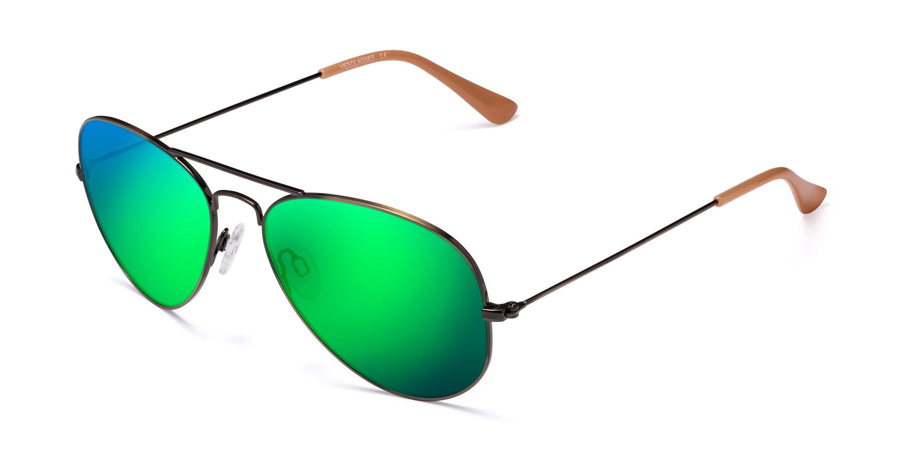 Angle of Yesterday in Antique Bronze with Green Mirrored Lenses