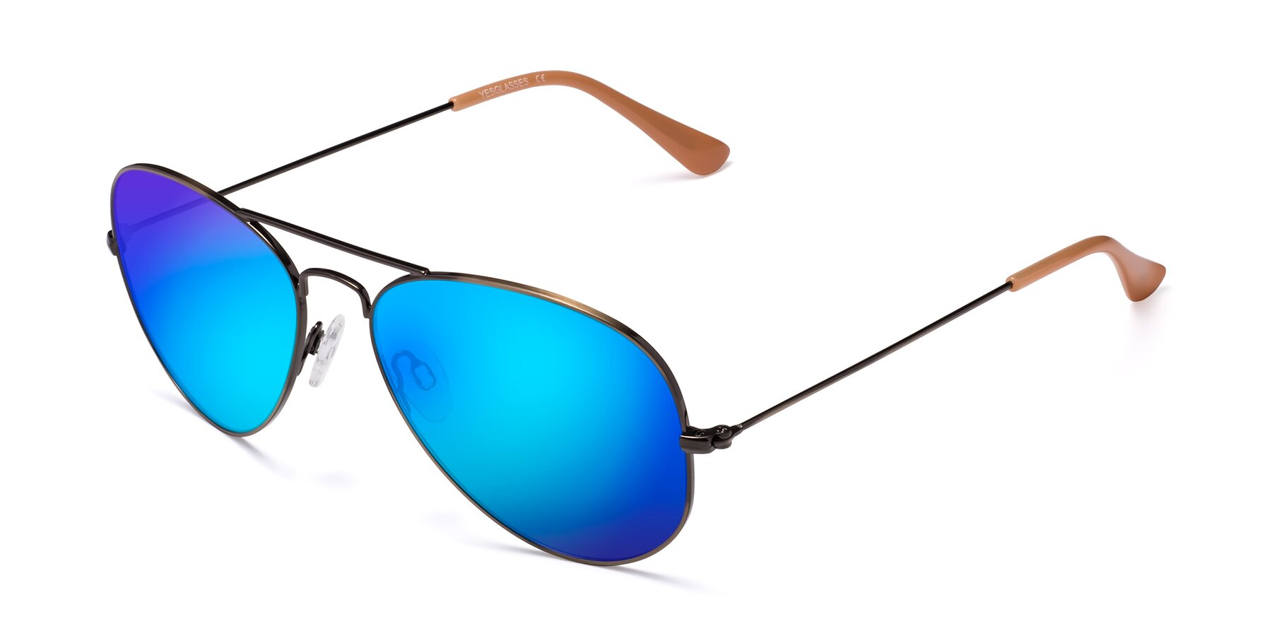 Angle of Yesterday in Antique Bronze with Blue Mirrored Lenses