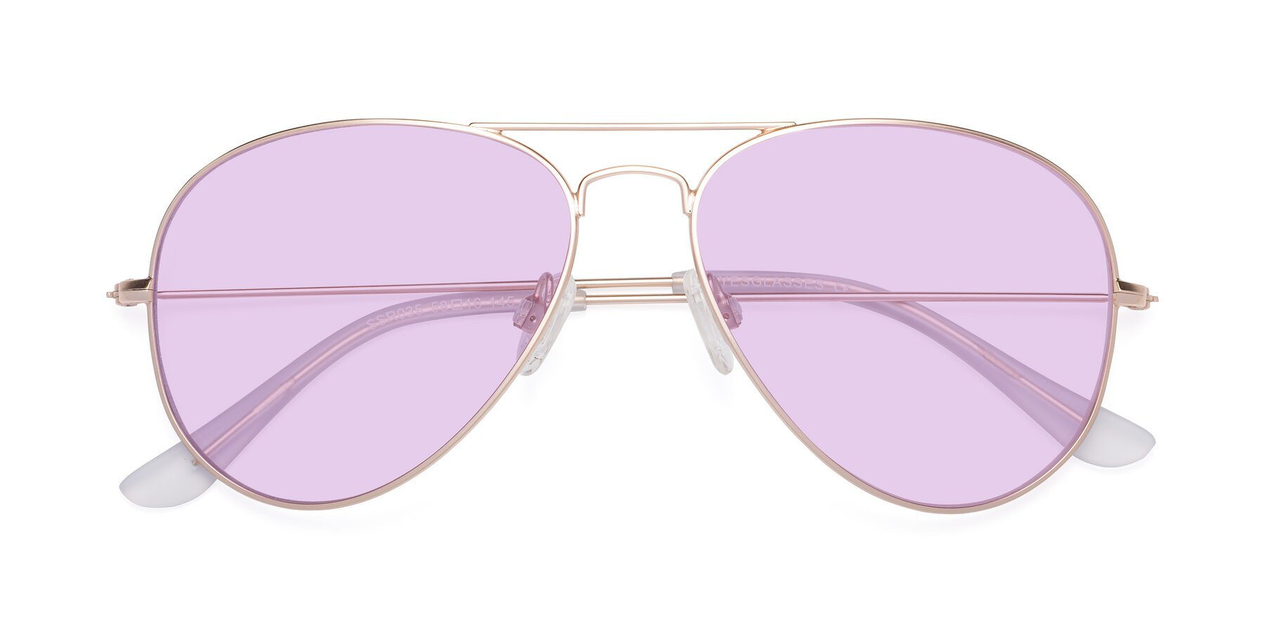 Folded Front of Yesterday in Jet Gold with Light Purple Tinted Lenses