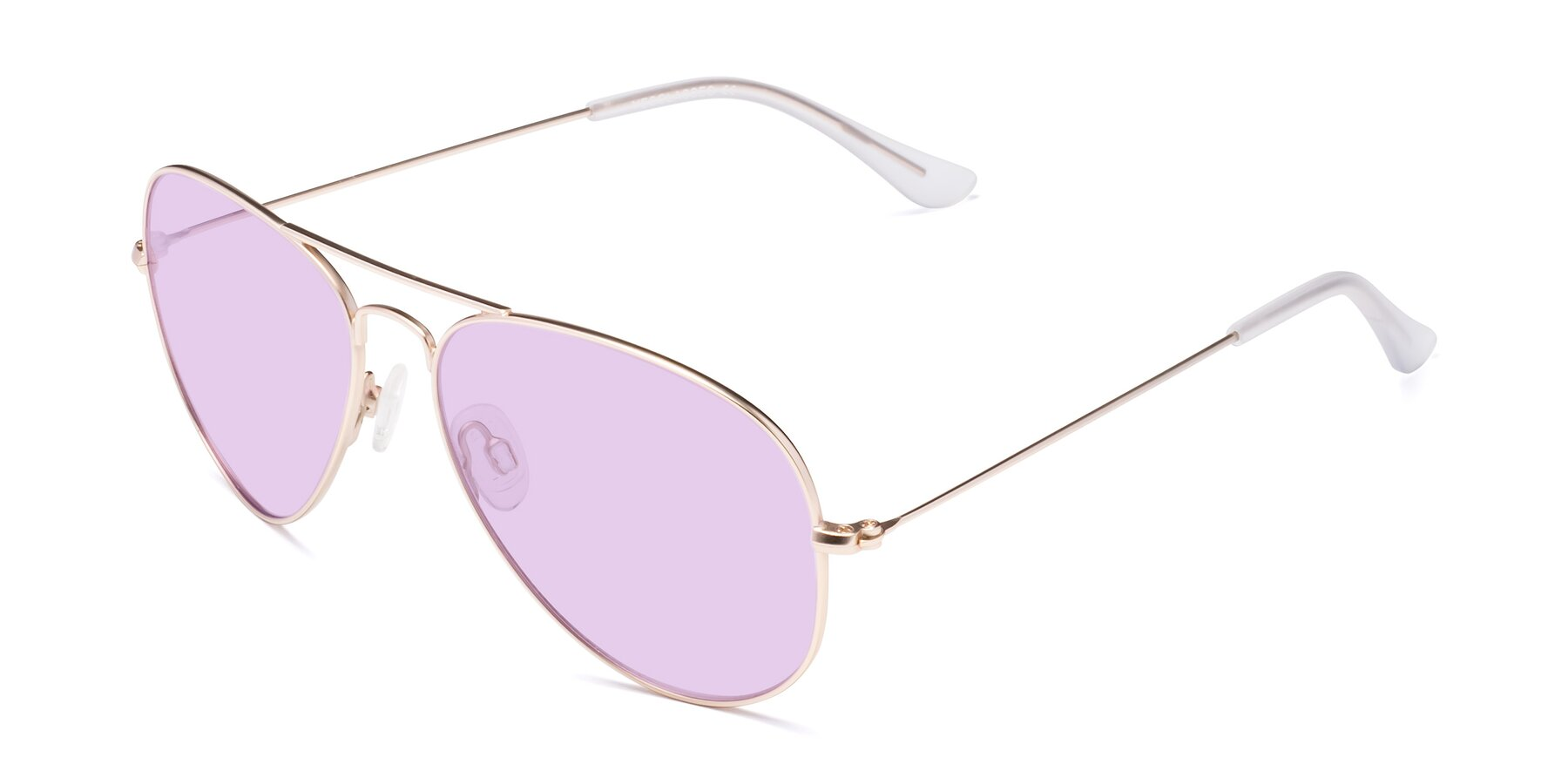 Angle of Yesterday in Jet Gold with Light Purple Tinted Lenses