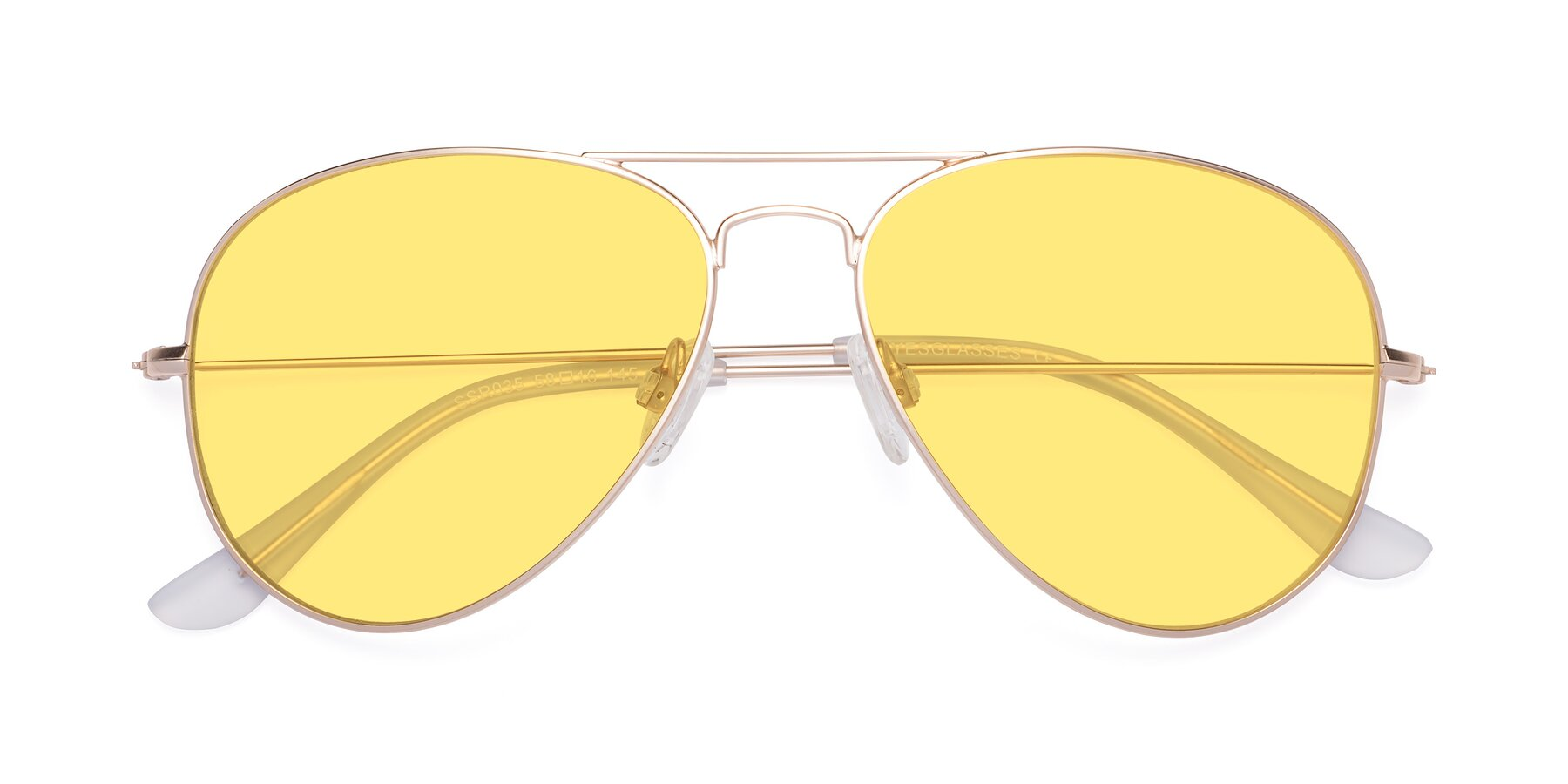 Folded Front of SSR035 in Jet Gold with Medium Yellow Tinted Lenses