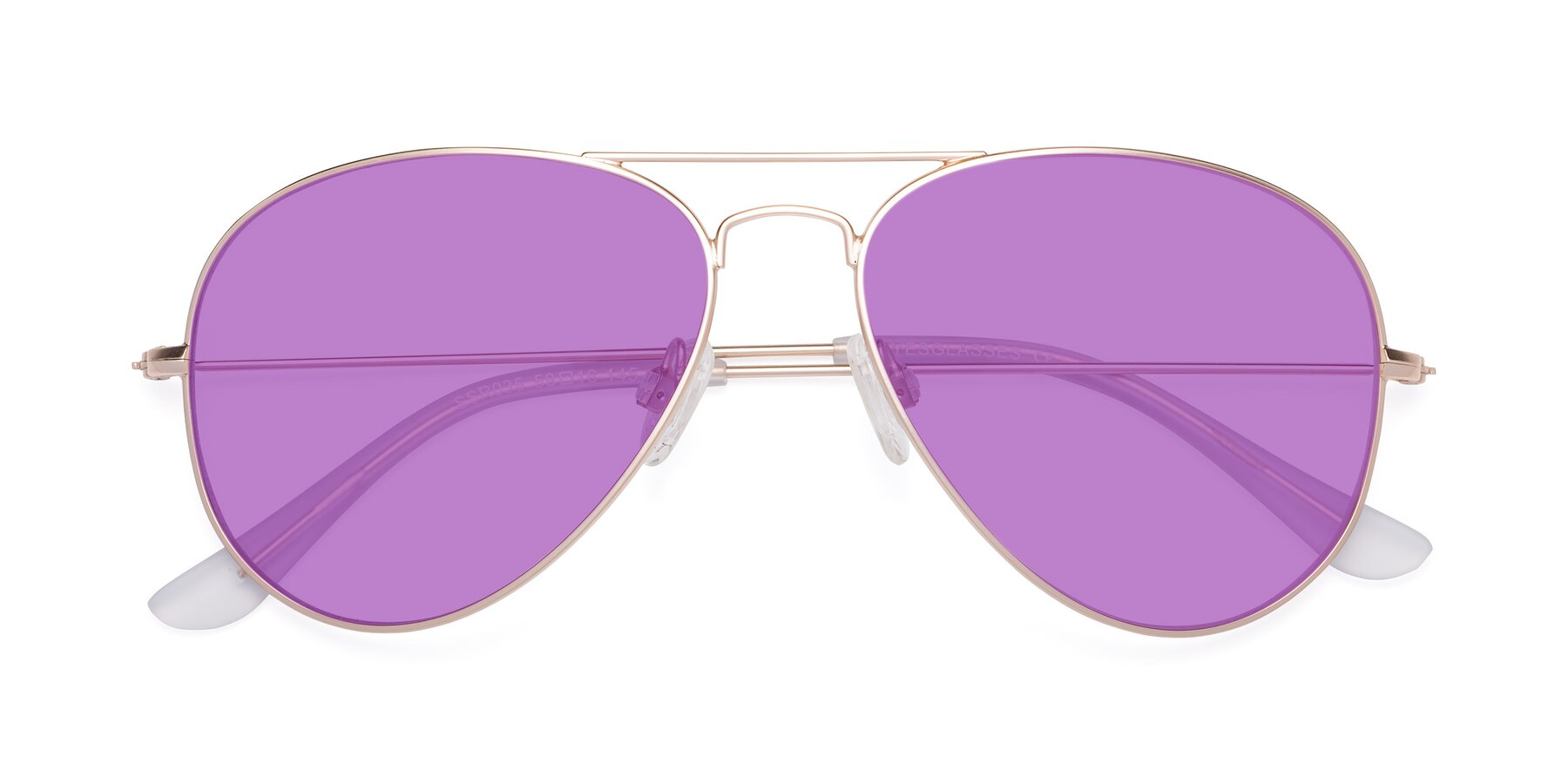 Folded Front of Yesterday in Jet Gold with Medium Purple Tinted Lenses