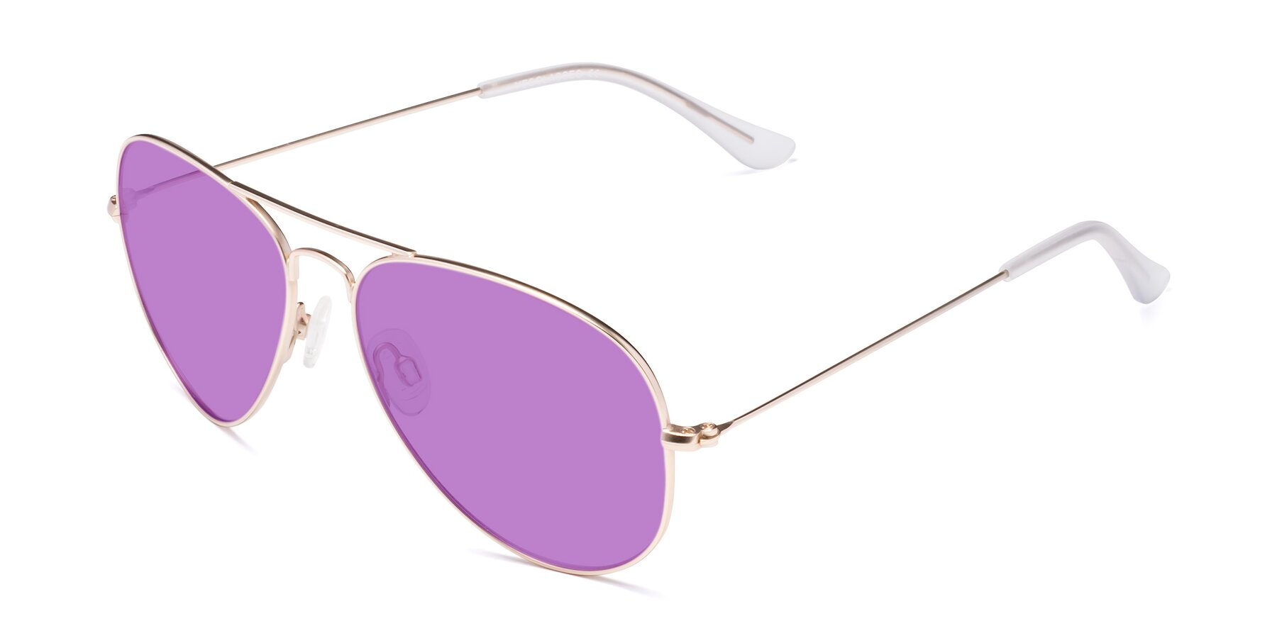 Angle of Yesterday in Jet Gold with Medium Purple Tinted Lenses