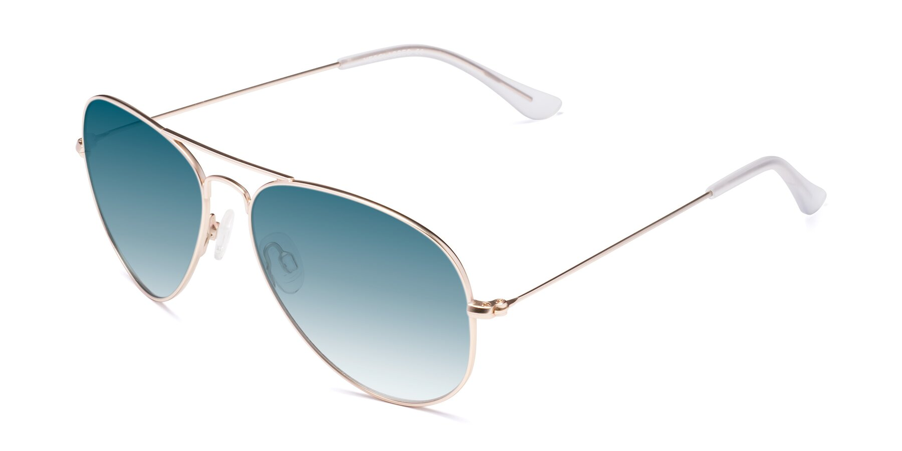 Angle of Yesterday in Jet Gold with Blue Gradient Lenses
