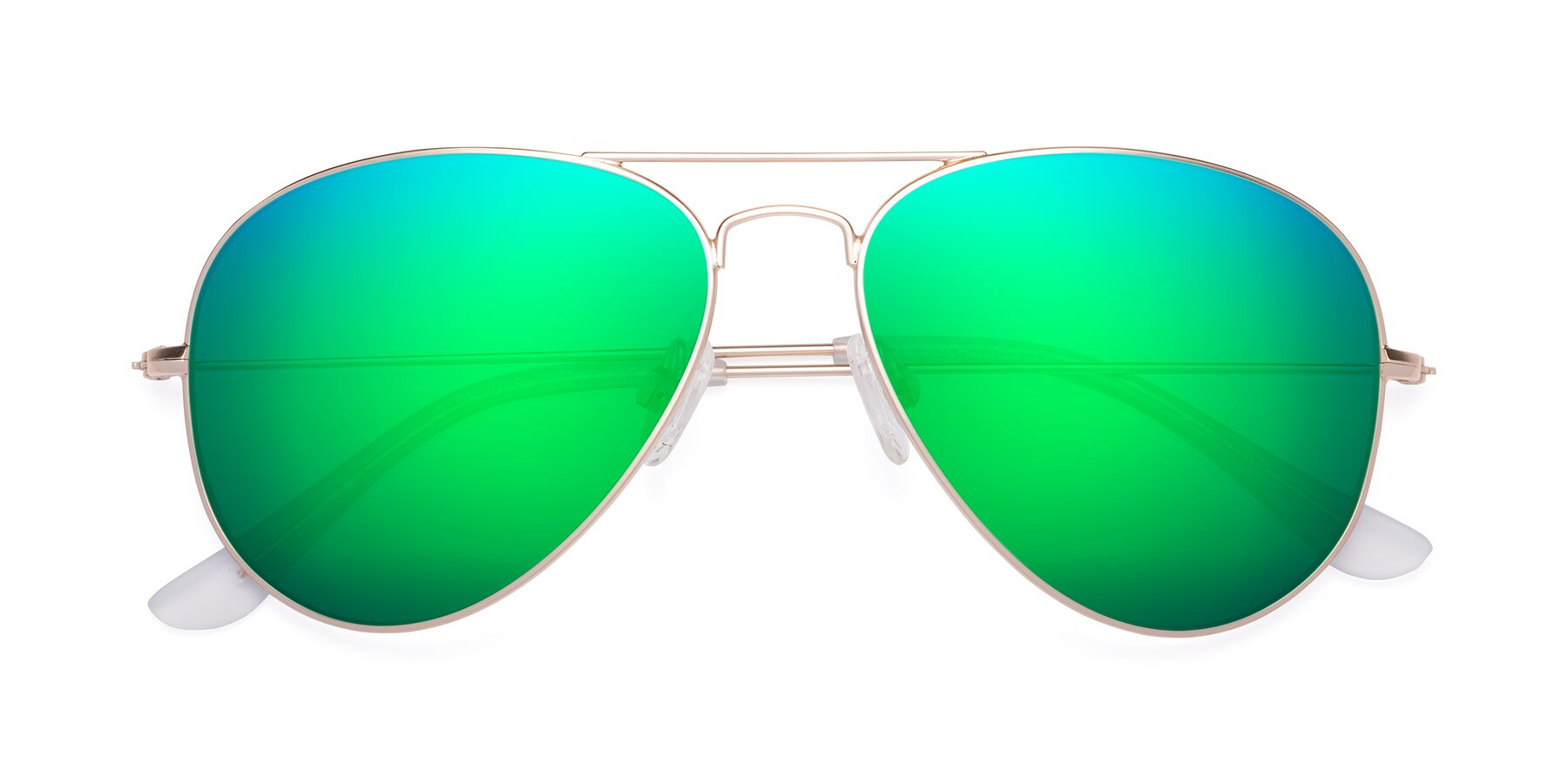 Folded Front of Yesterday in Jet Gold with Green Mirrored Lenses